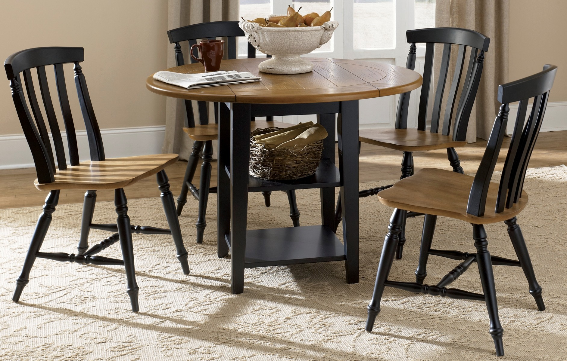 al fresco black drop leaf dining room set from liberty