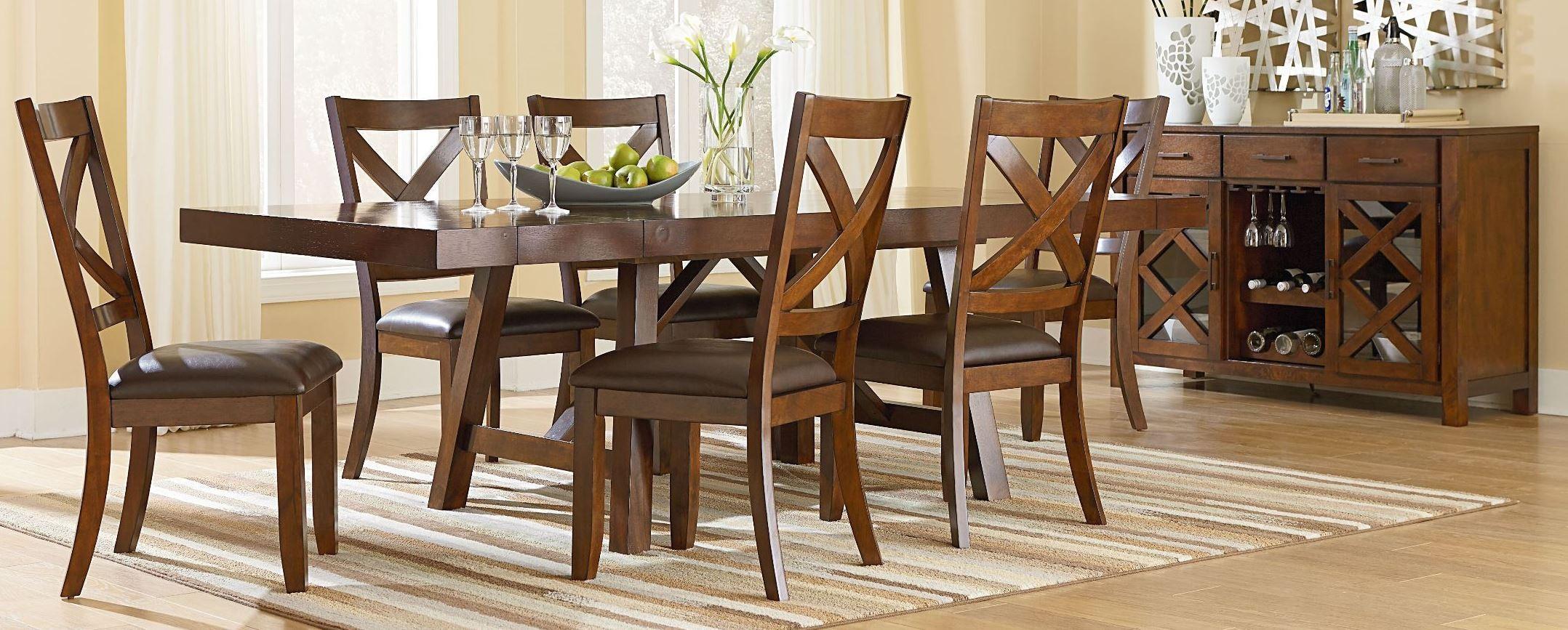 Omaha burnished saddle brown trestle extendable dining for Brown dining room set