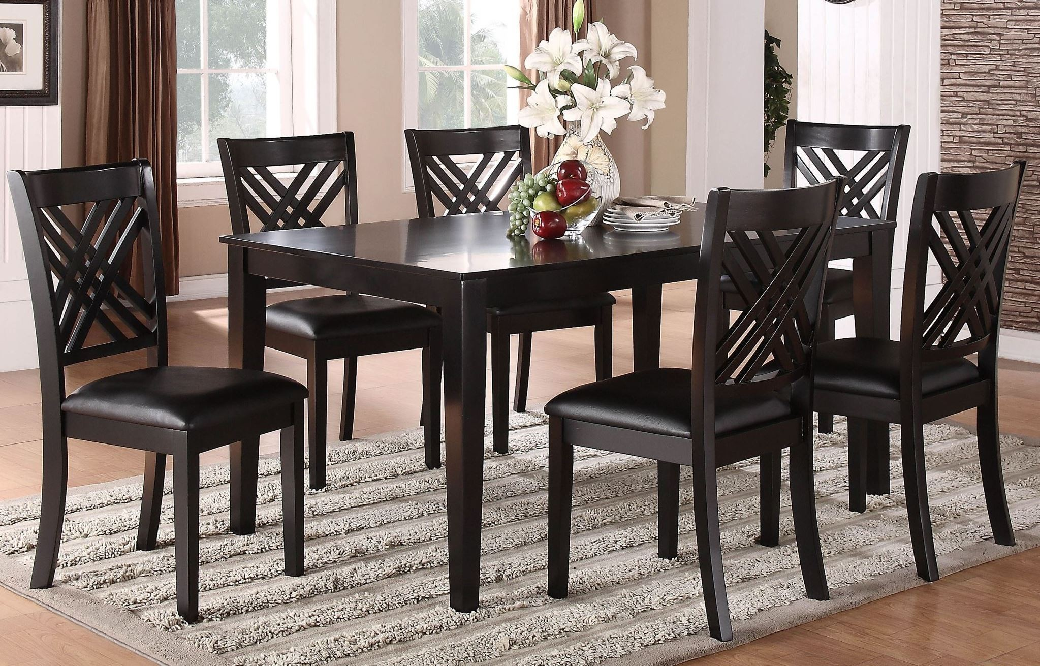 Brooklyn dark espresso 7 piece dining room set 18762 for 7 piece dining room set