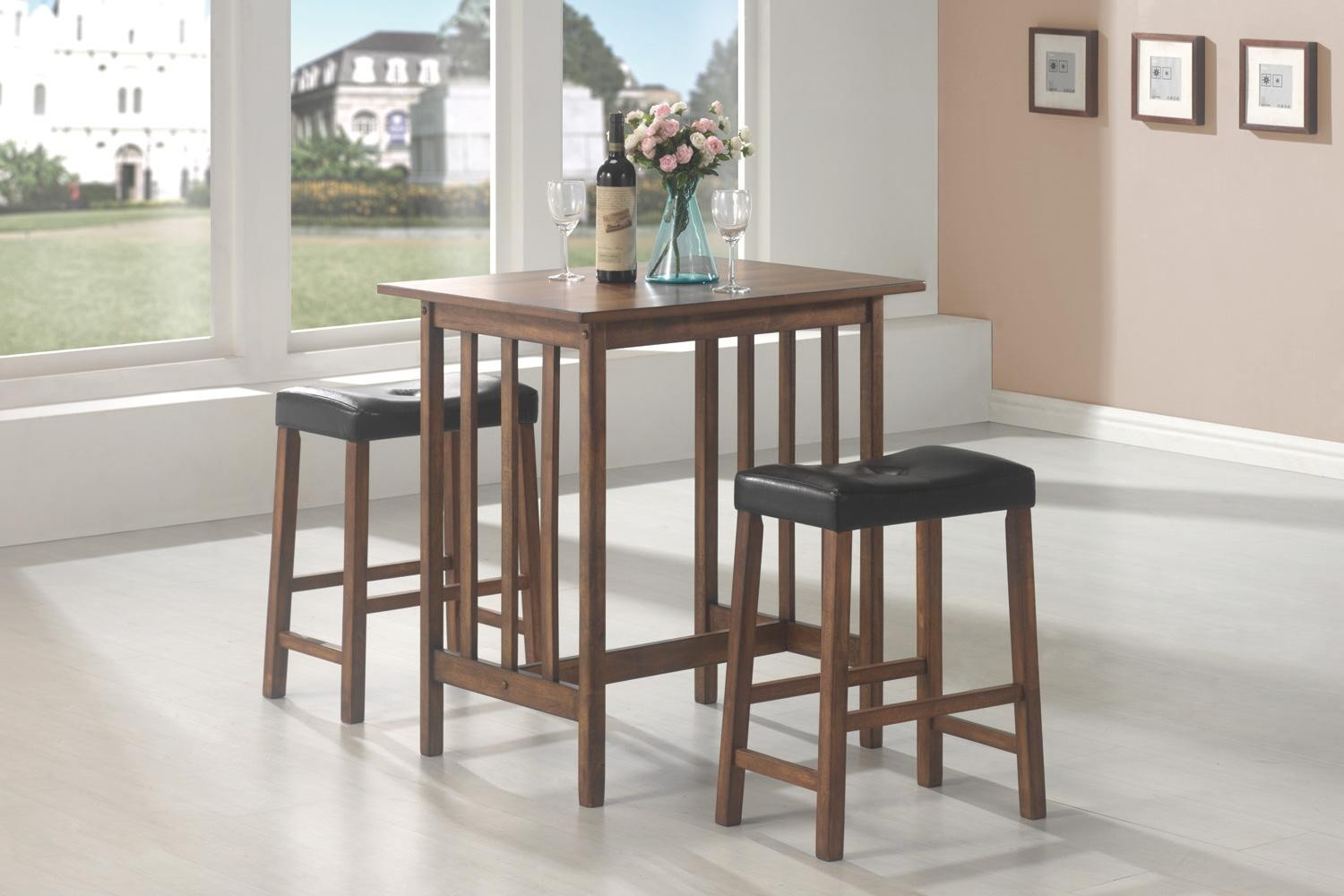black 3 pcs counter height dining dinette set 130004 from coaster