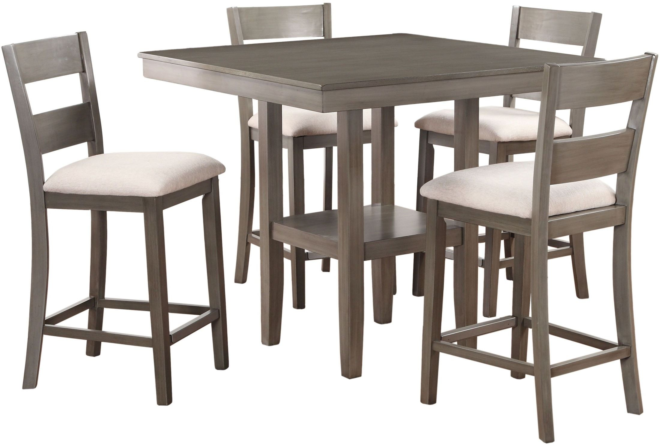 Loft weathered grey 5 piece counter height dining room set for 5 piece dining room sets