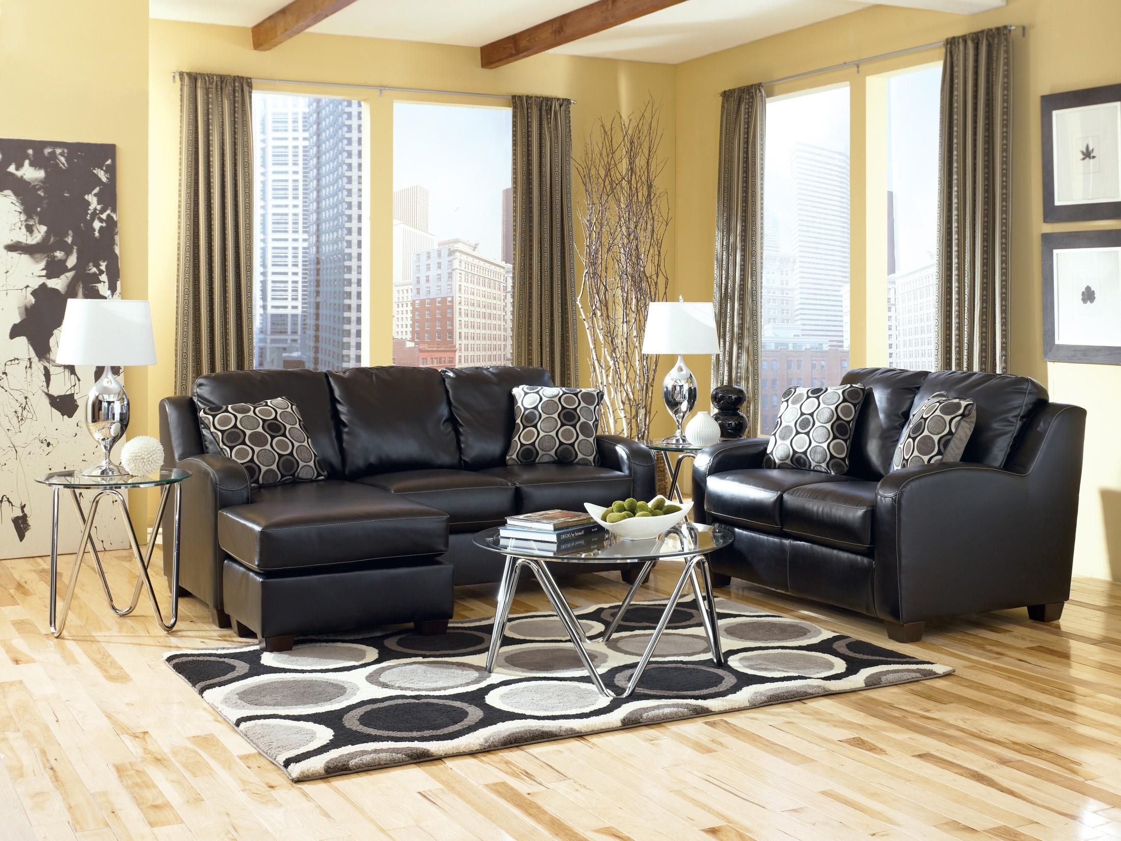 Ashley furniture devin durablend black sofa chaise queen for Ashley durablend chaise