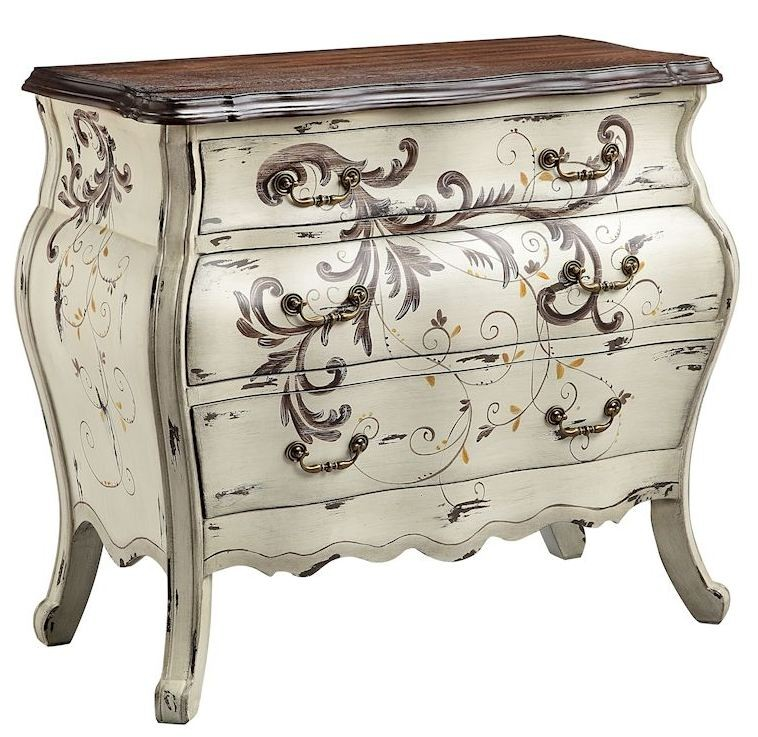 Busey hand painted white pearl 3 drawer bombe chest 13613 for Hand painted chests