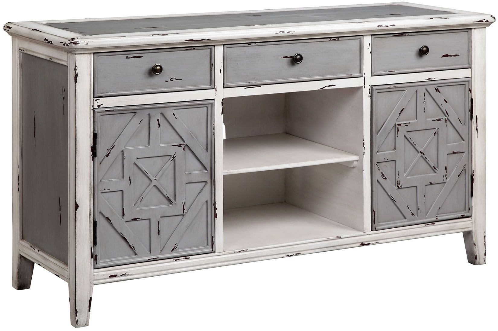 Gianote gray and white media console 13699 accents White media console