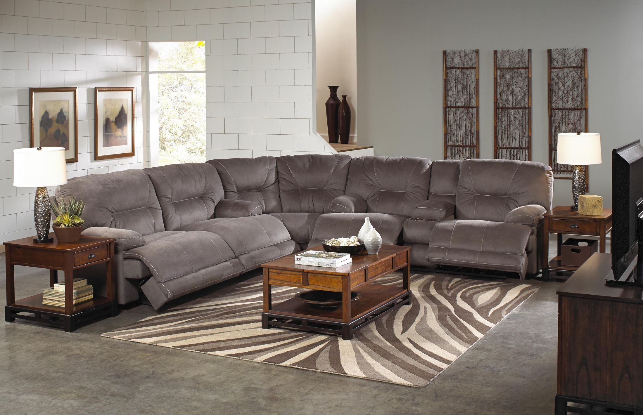 Noble slate reclining sectional from catnapper coleman for Catnapper cloud nine chaise recliner