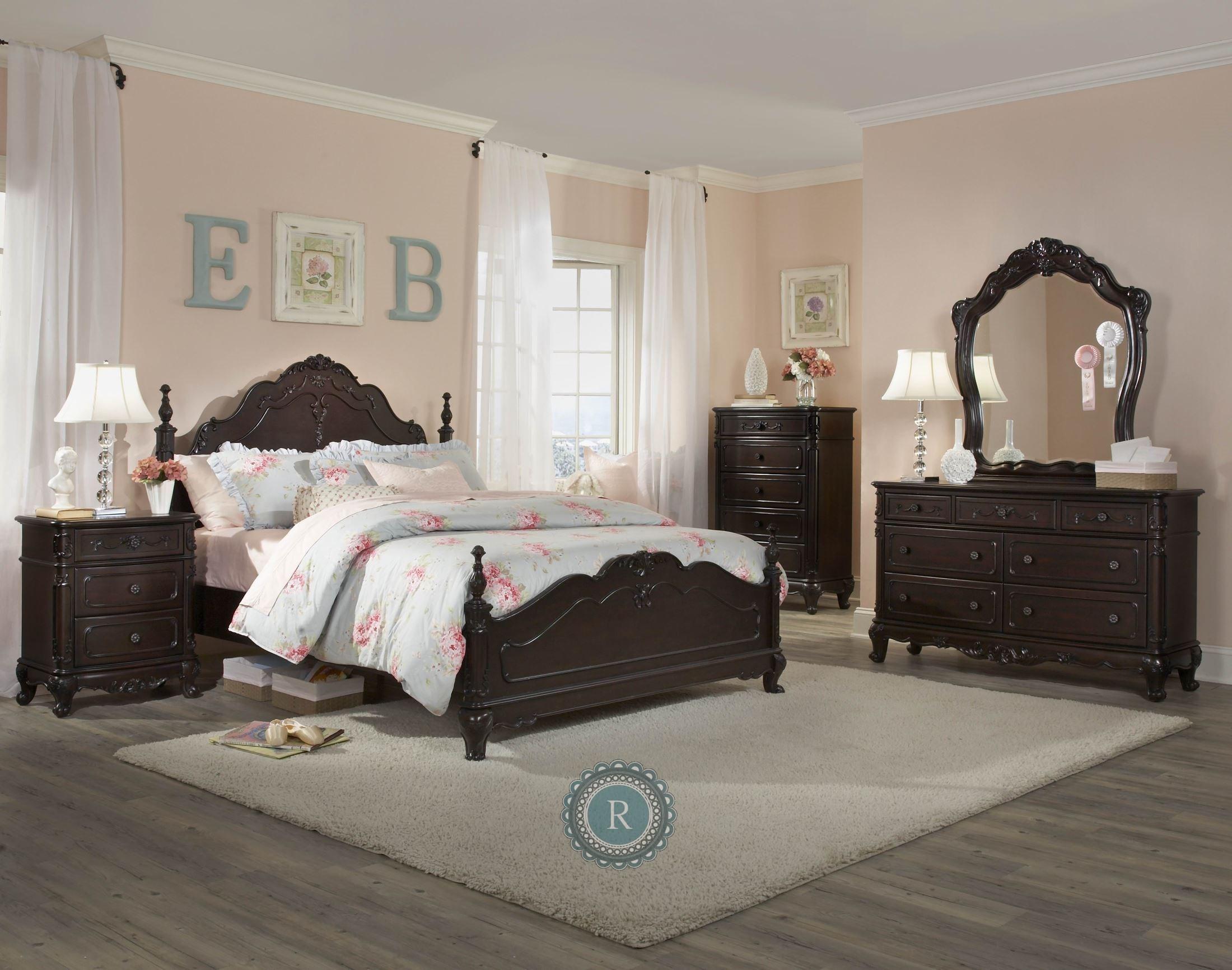 cinderella dark cherry poster bedroom set from homelegance. Black Bedroom Furniture Sets. Home Design Ideas