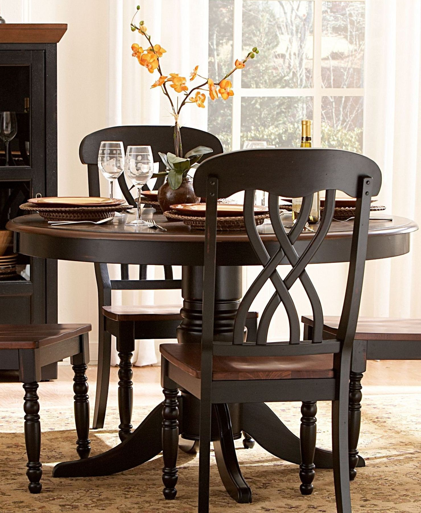 Ohana black round dining room set from homelegance 1393bk for Dining room tables 48 round