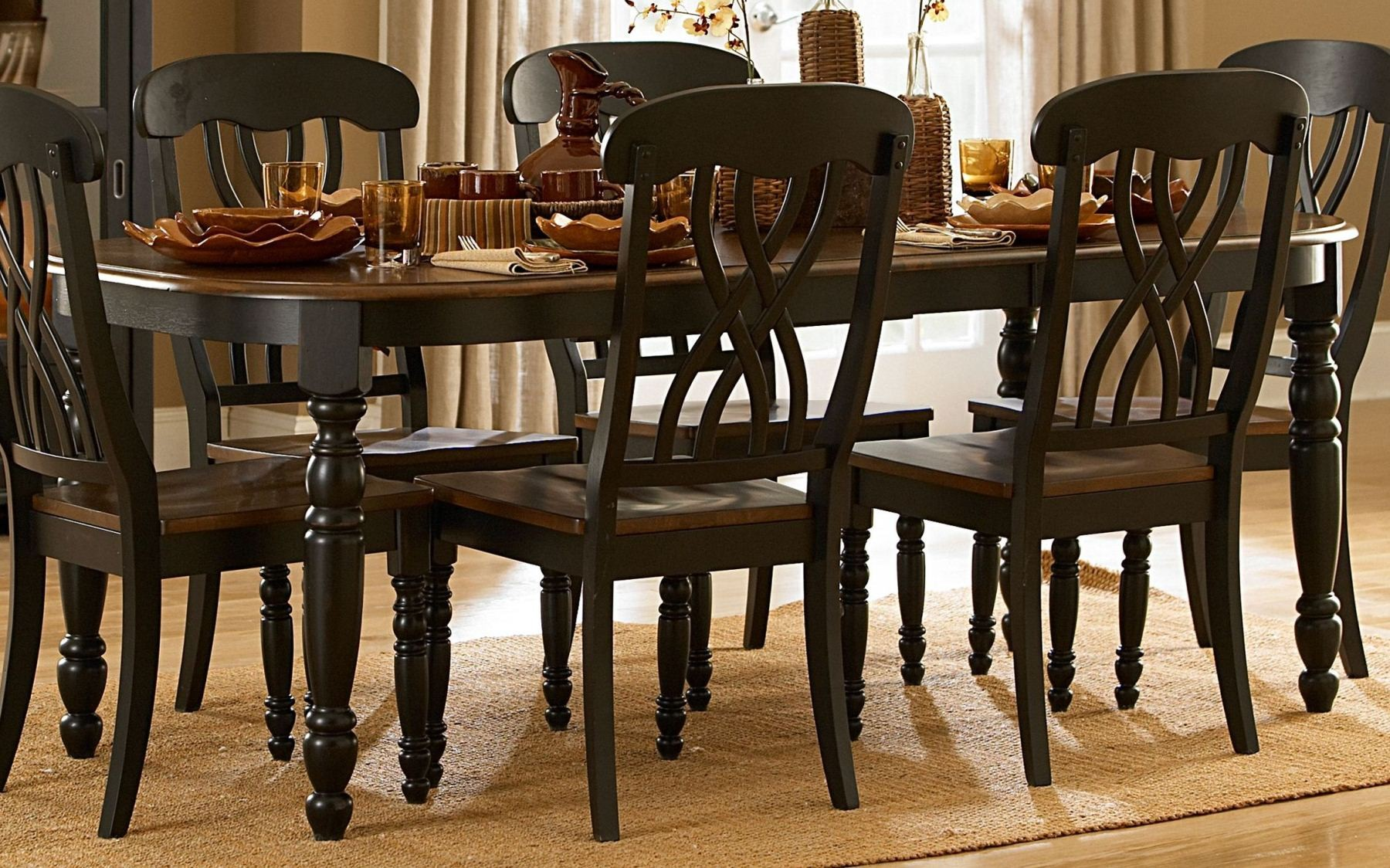 Ohana black rectangular extendable dining room set from
