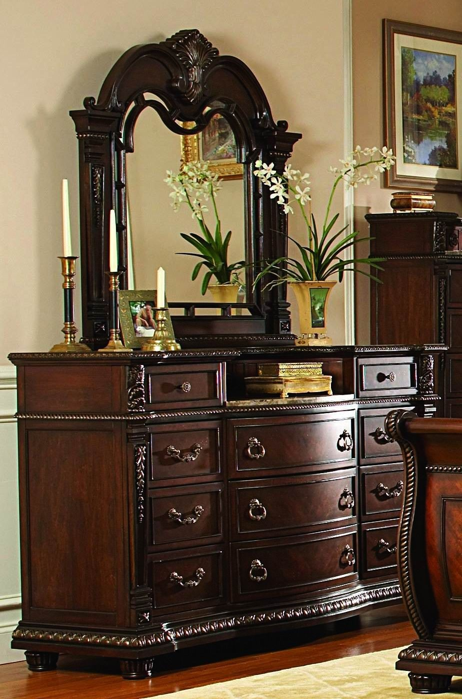 Palace Rich Brown Leather Sleigh Bedroom Set From Homelegance 1394 1 Coleman Furniture