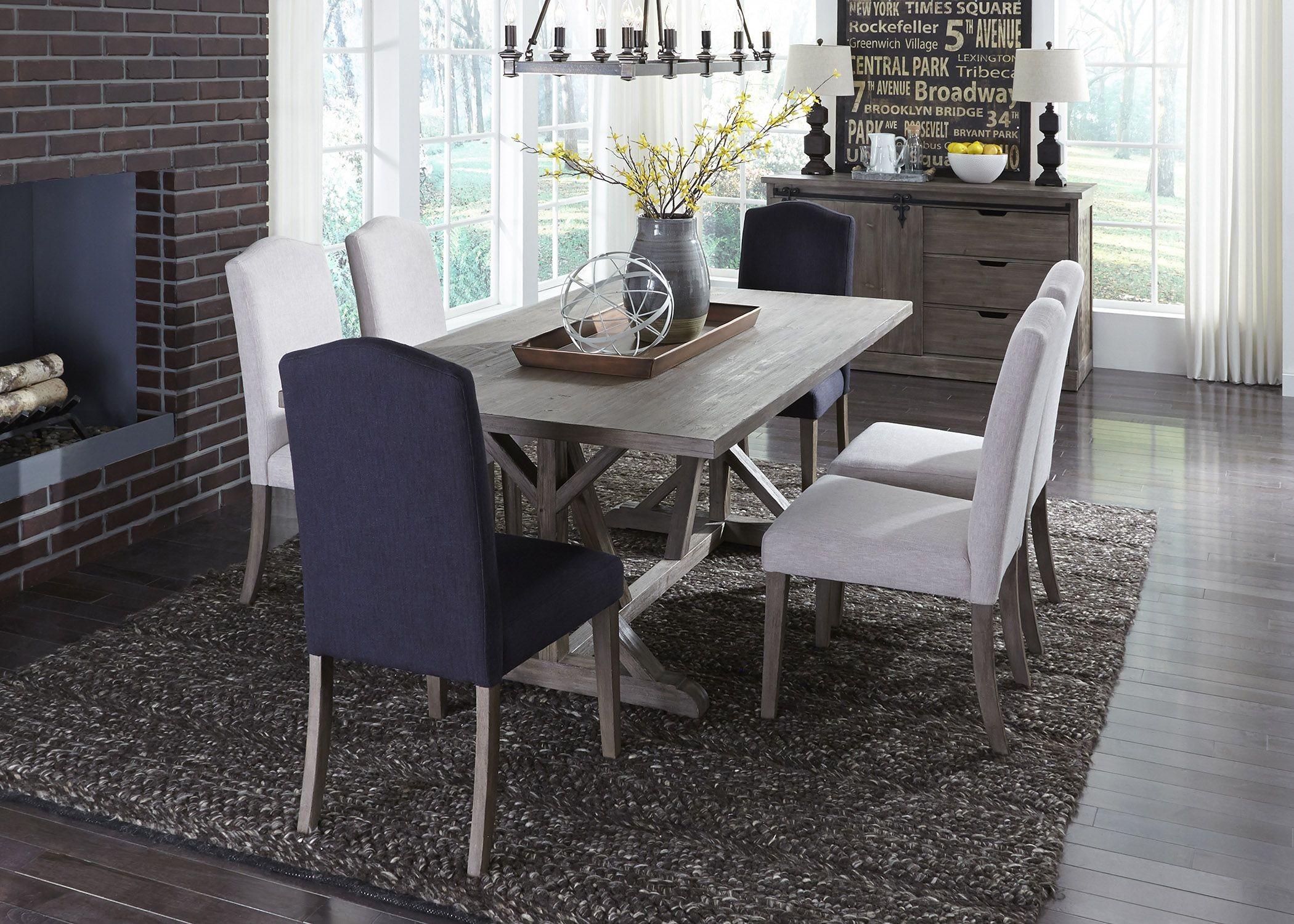 Carolina lakes gray trestle dining room set 140 t4272 for Trestle dining room sets