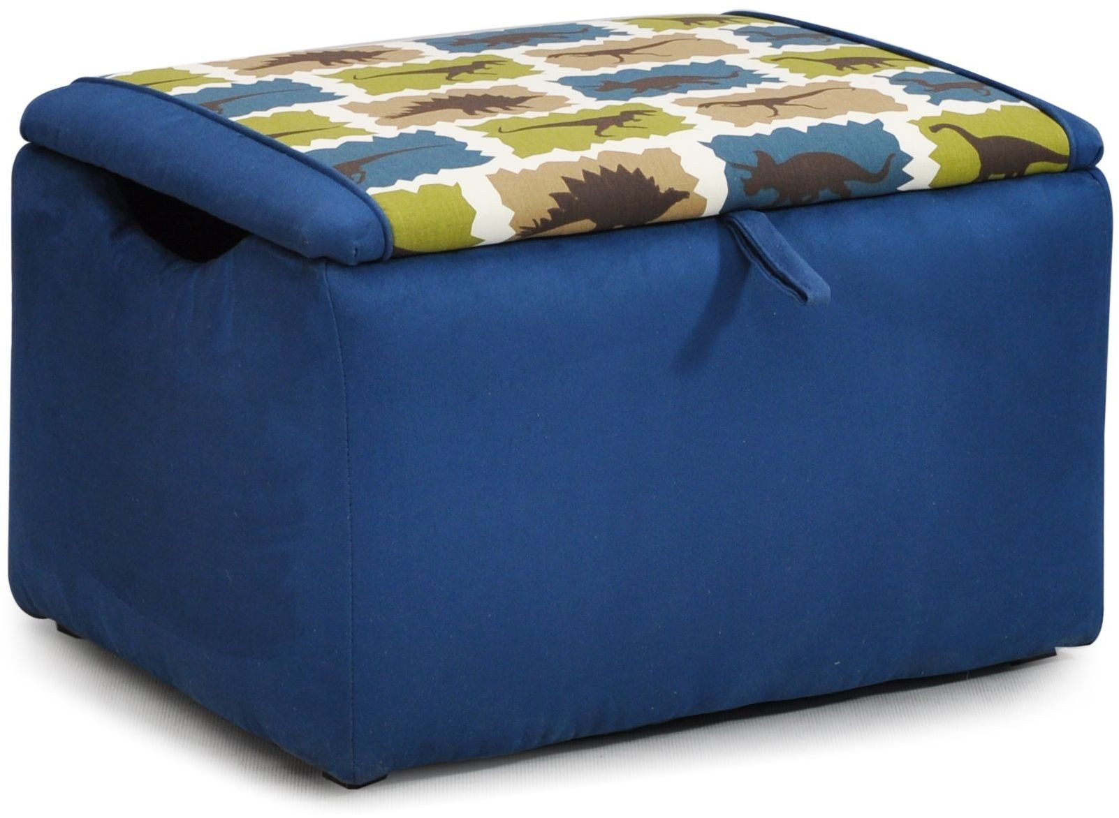 Mixy Rex Blue Indigo Suede Upholstered Storage Bench 1400 1 Rexb Is Kidz World