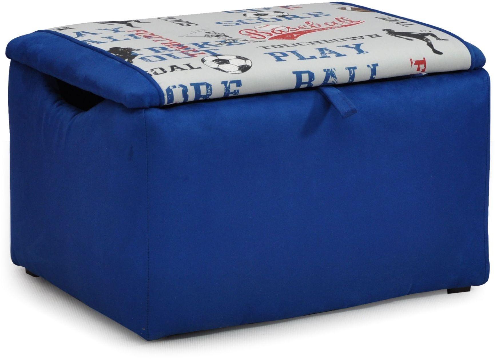 Mixy Sports Blue Suede Upholstered Storage Bench 1400 1 Sports Bs Kidz World