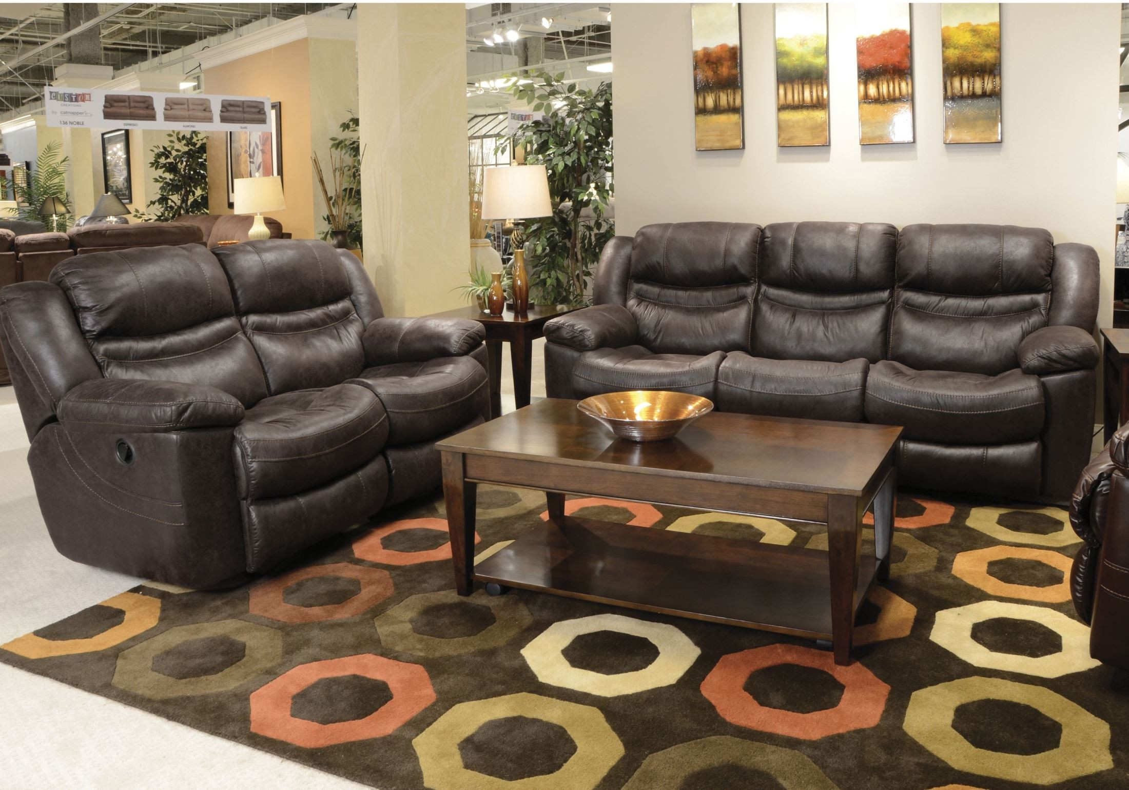 valiant coffee reclining sofa with drop down table from