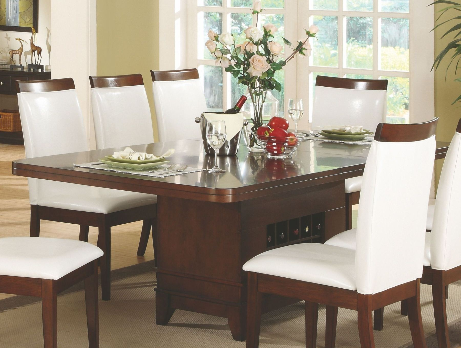 Elmhurst Dining Table With Wine Storage Homelegance Furniture 1410 92