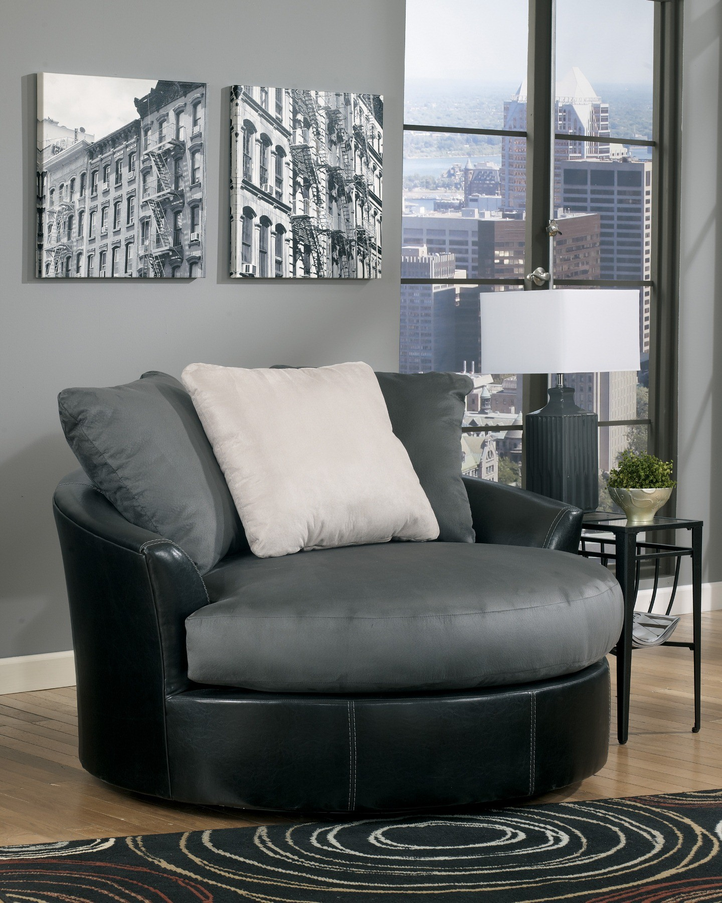 Masoli cobblestone oversized swivel accent chair from for Oversized occasional chairs