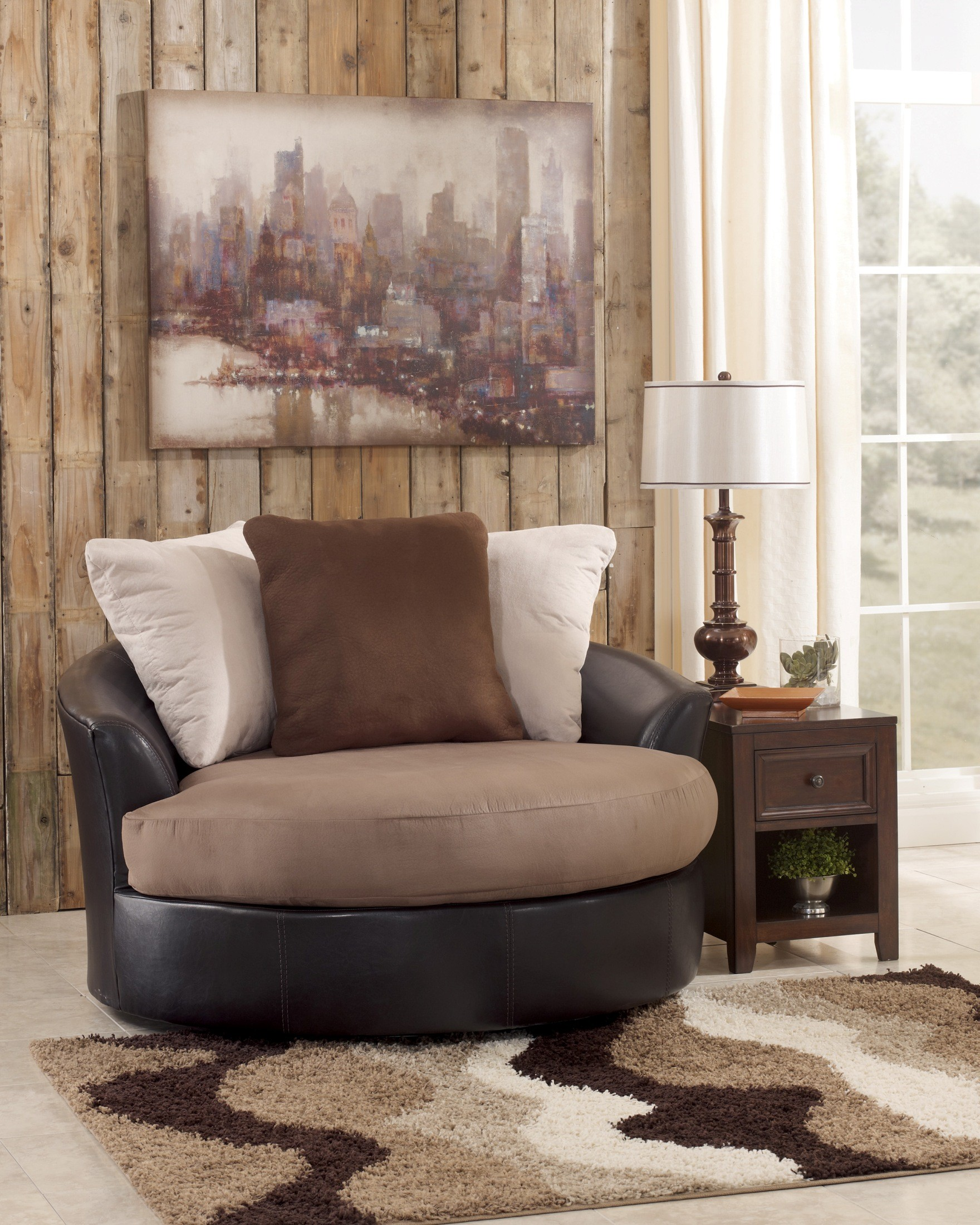 Masoli mocha oversized swivel accent chair from ashley for Oversized occasional chairs