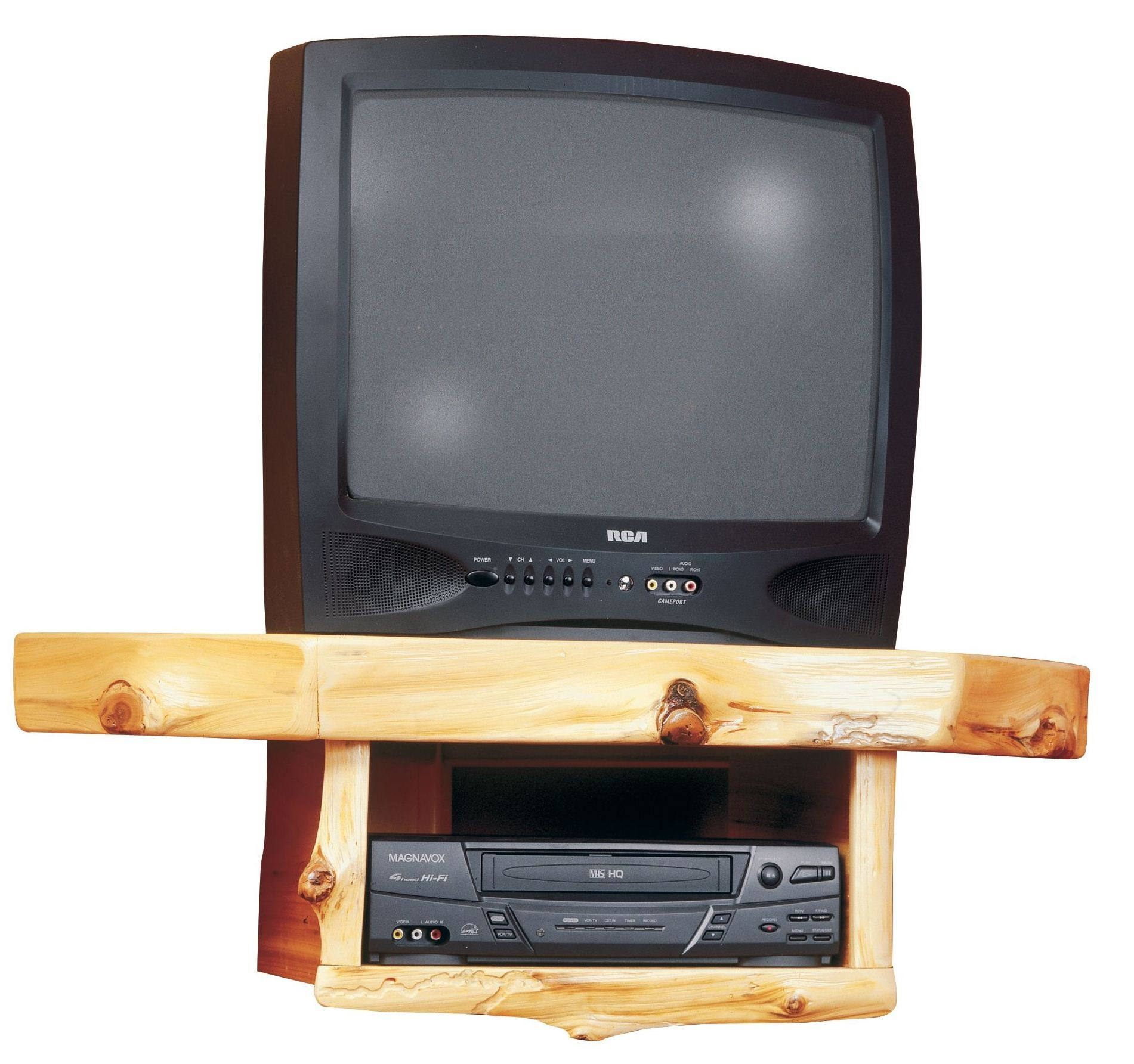 Cedar Corner TV Shelf With DVR/DVD Player Shelf From