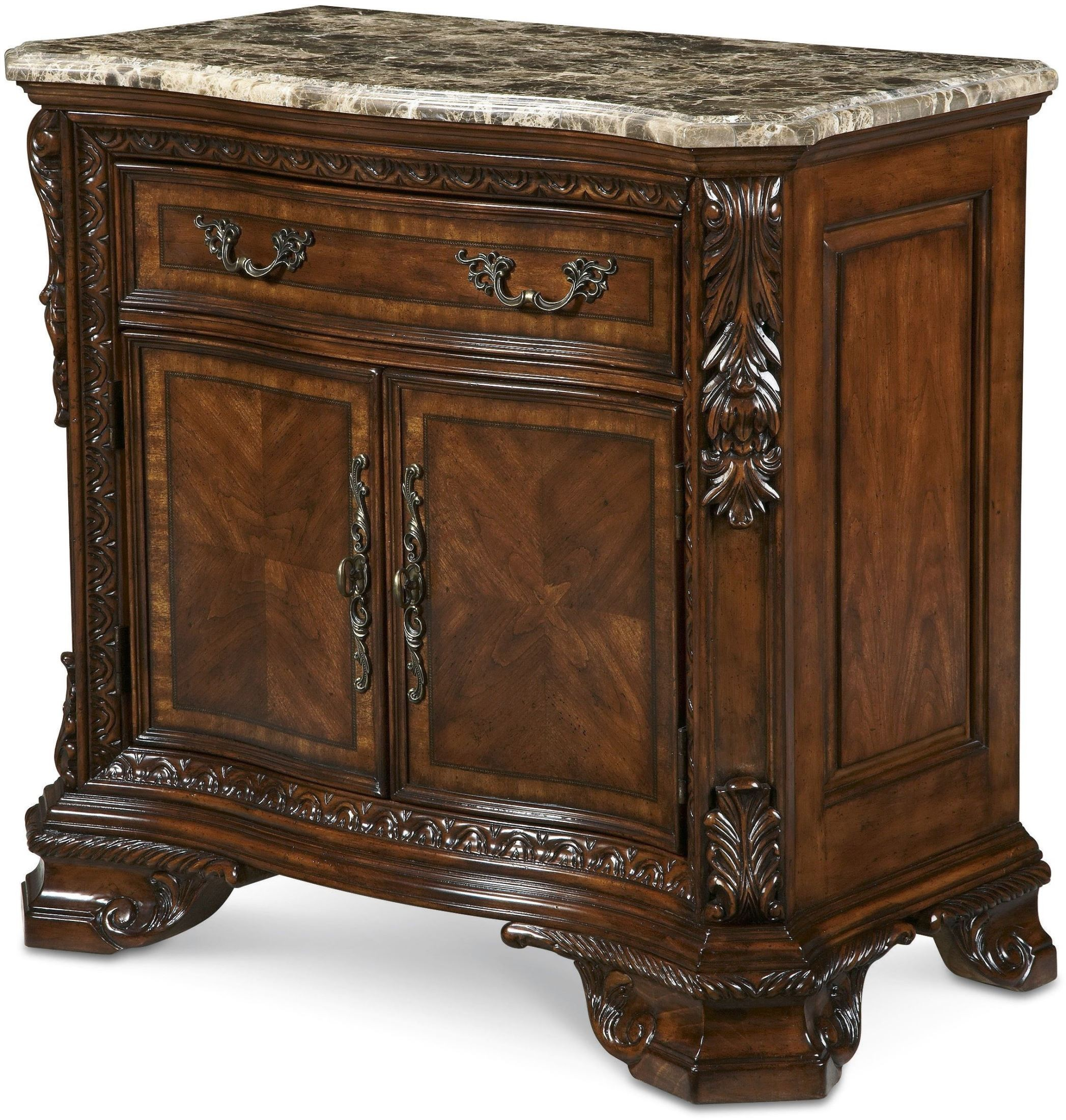 Old World Stone Top Door Night Stand From Art 143142 2606 Coleman Furniture