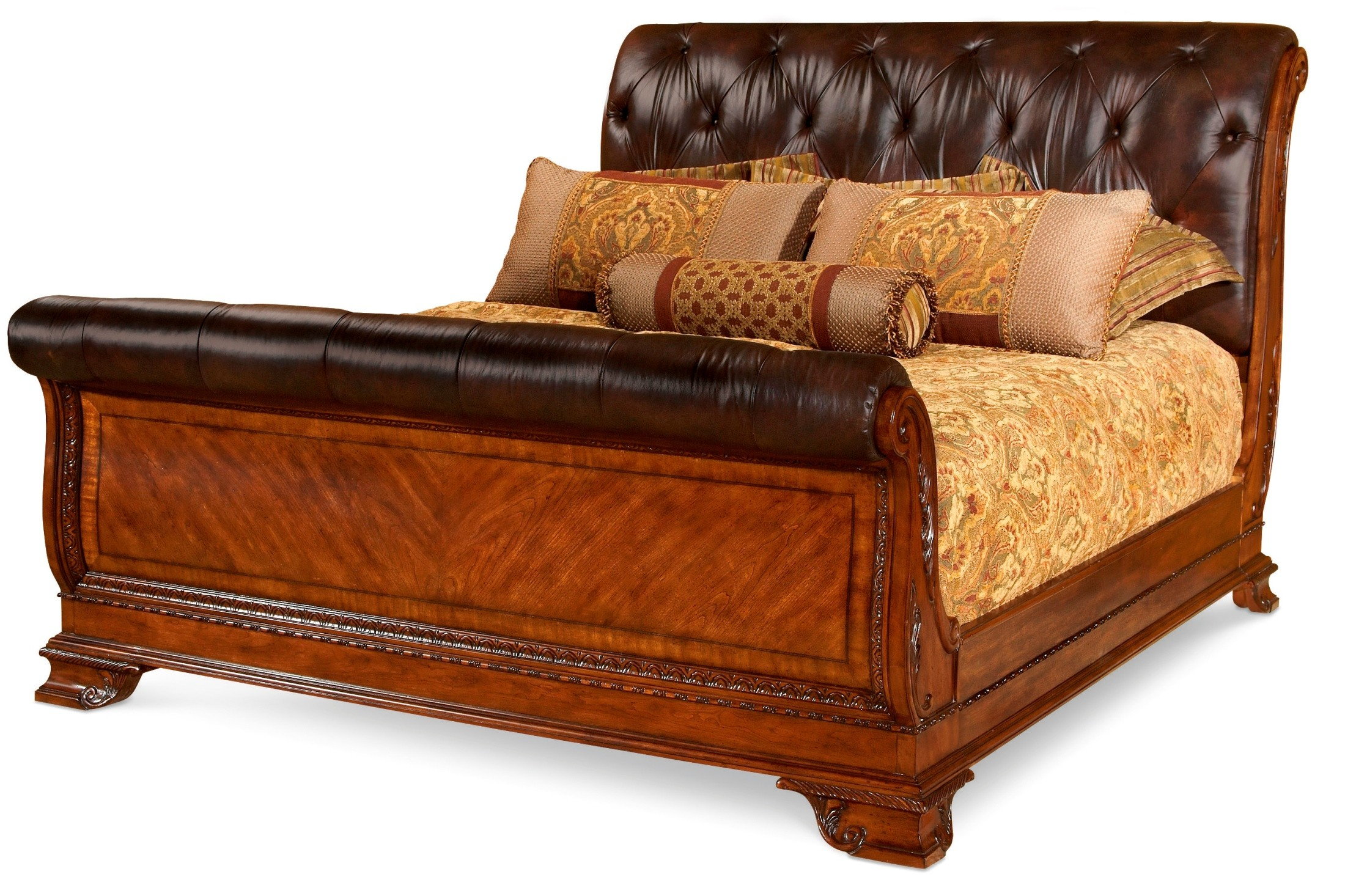 Leather and wood king sized sleigh bed african teens porn - King size sleigh bed bedroom set ...