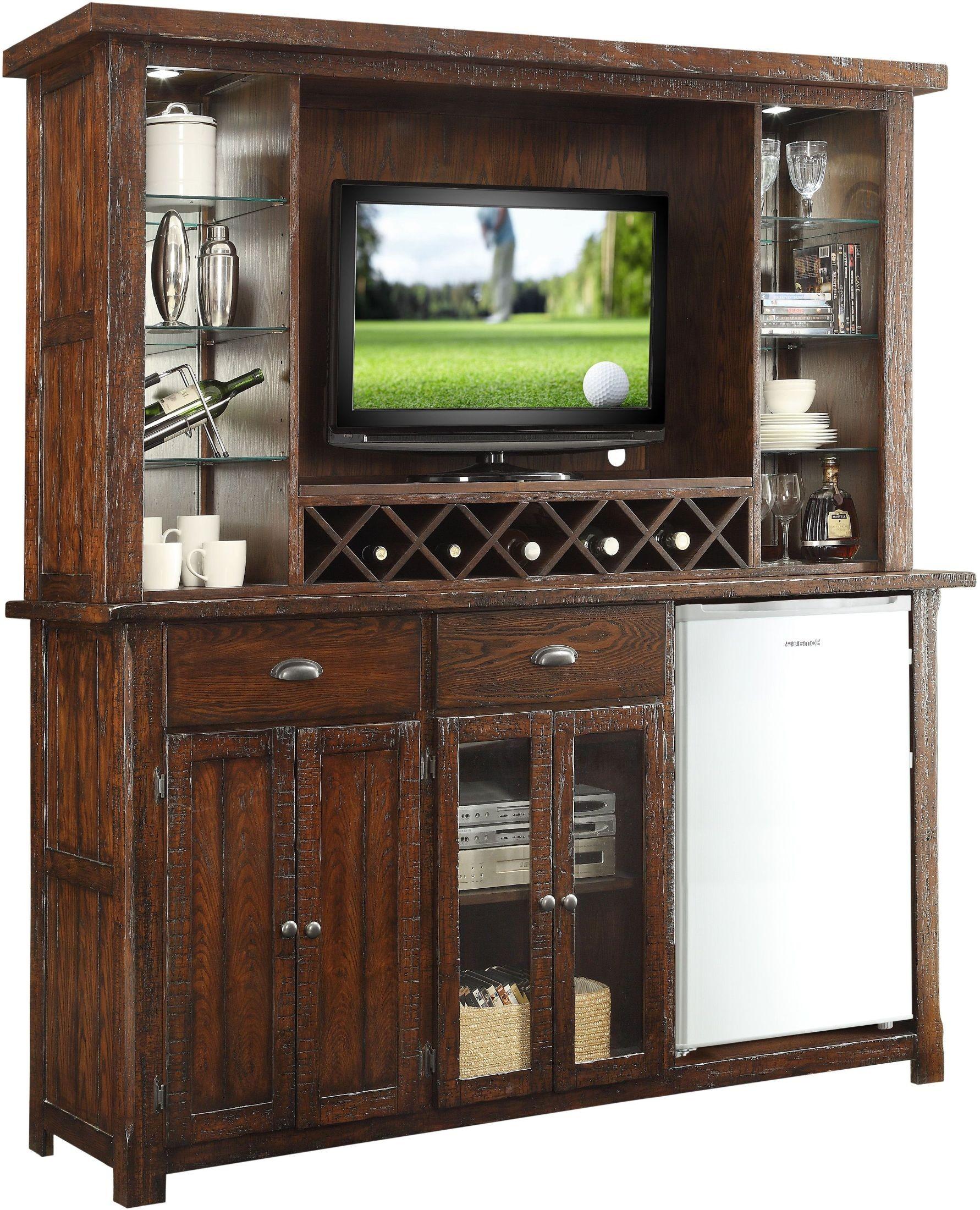 Gettysburg Distressed Chestnut Oak Bar With Entertainment Hutch 1475 05 Eh Ebb Eci Furniture