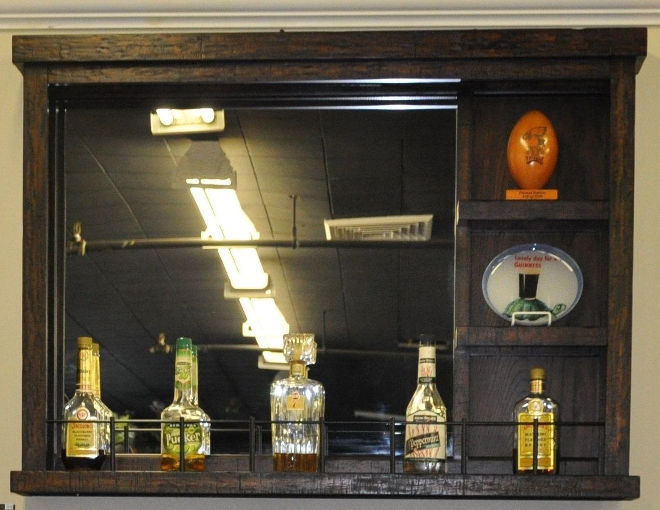 Gettysburg Distressed Chestnut Oak Wall Bar With Mirror 1475 05 Wb Ebb Eci Furniture