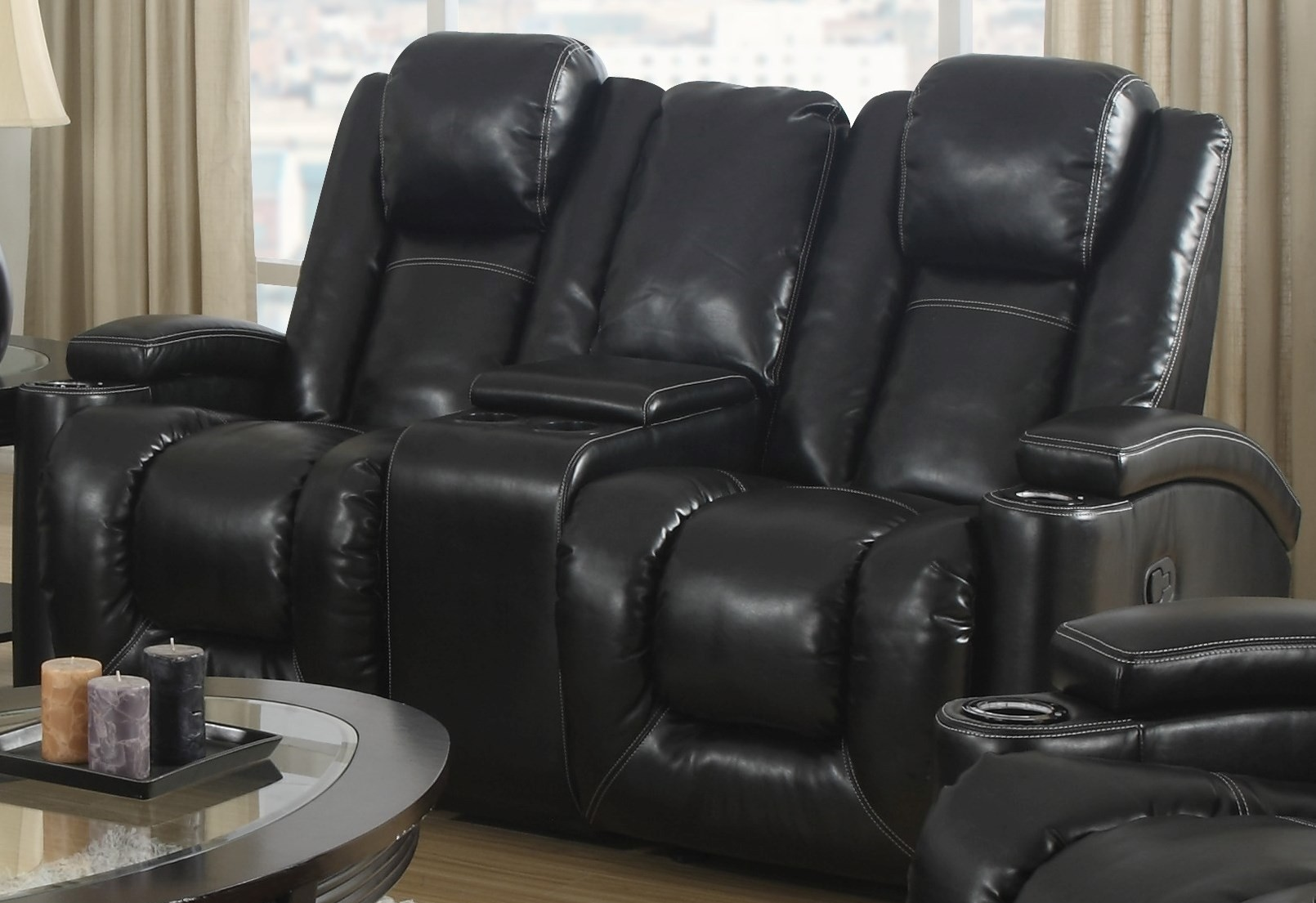 Matrix Black Power Rocker Reclining Console Loveseat 1488