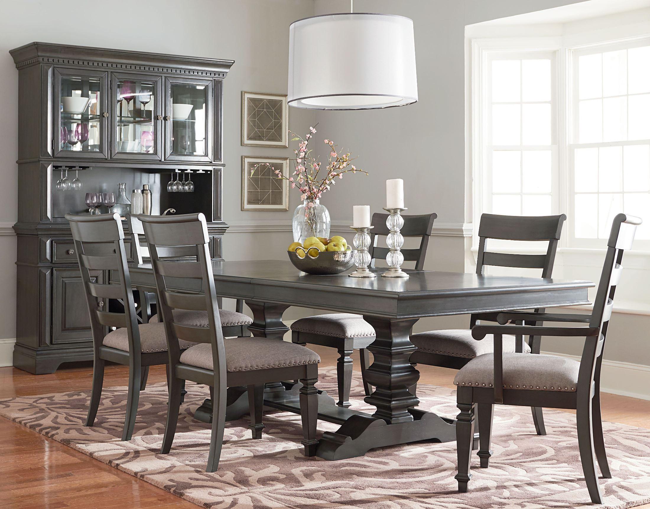 garrison burnished grey extendable trestle dining room set 14906 2014906 standard furniture. Black Bedroom Furniture Sets. Home Design Ideas