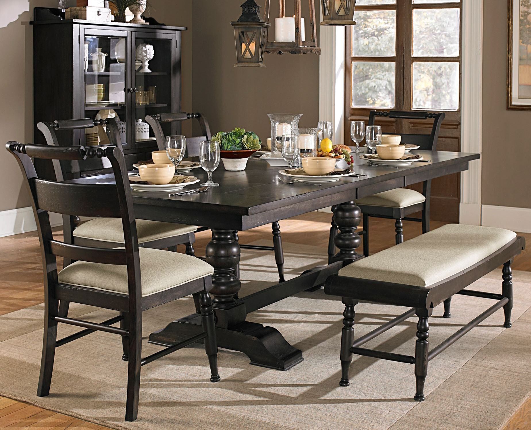 Whitney trestle dining room set from liberty 661 t4294 for Trestle dining room sets