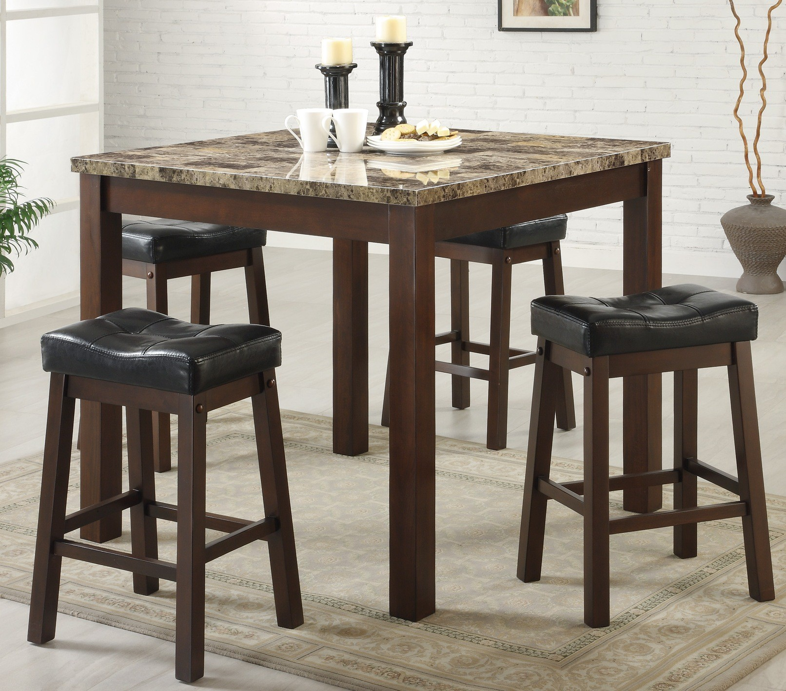 Sophia 5 Piece Counter Height sturdy post legs Dinette Set from ...