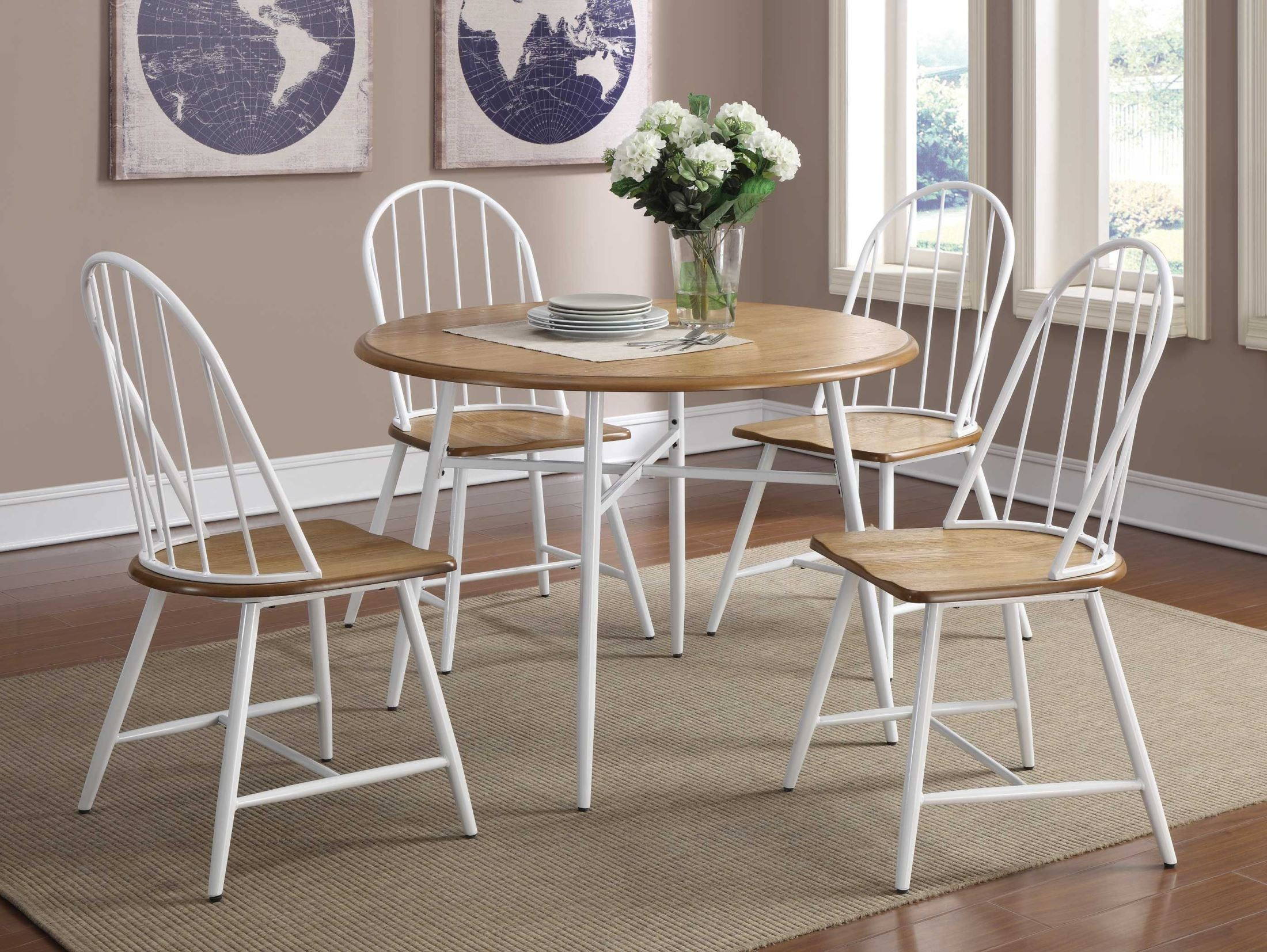 noah natural brown round dining room set 150361 coaster furniture