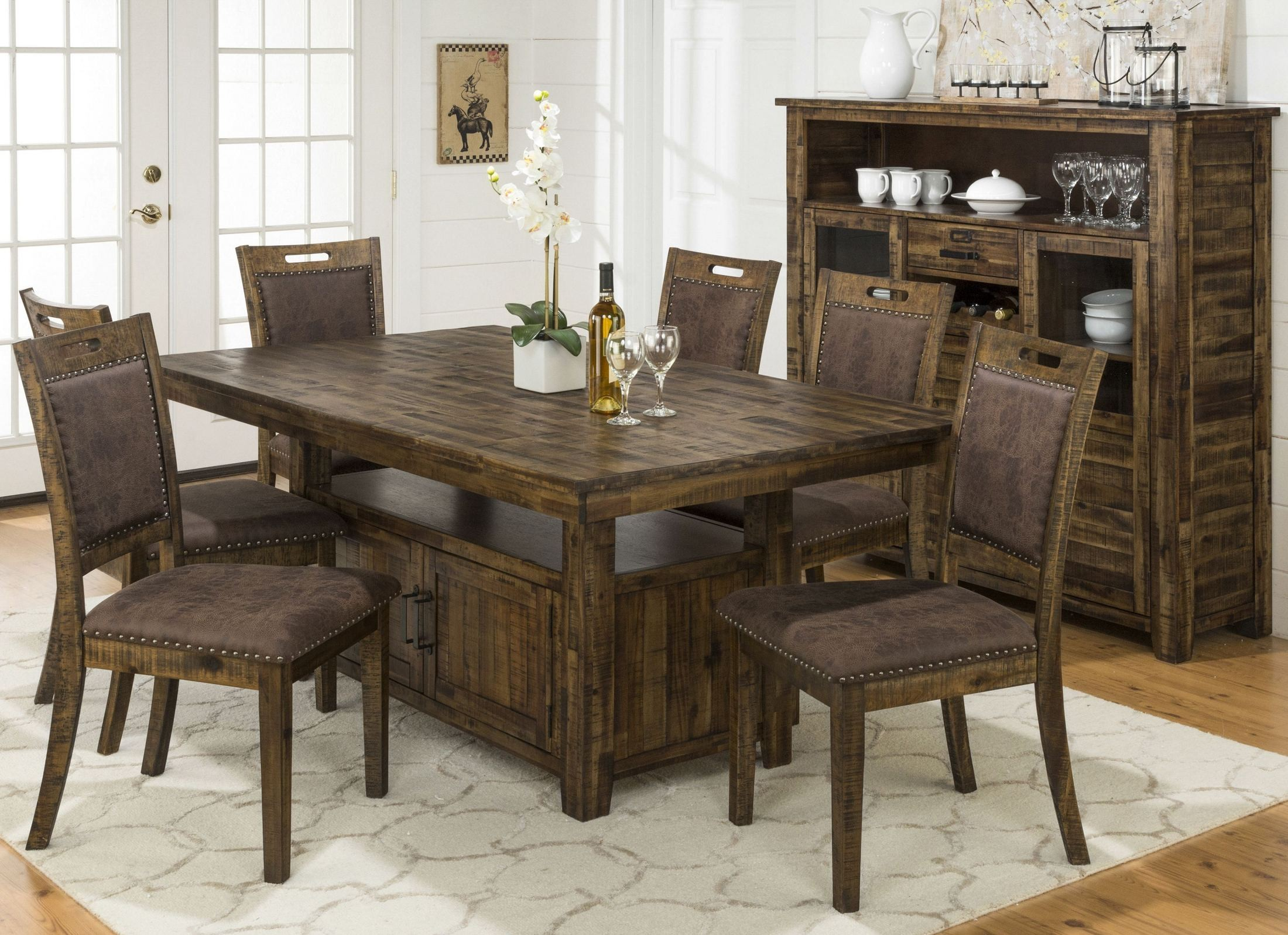 Cannon valley adjustable storage dining room set 1511 72tbkt jofran - Dining room sets with storage ...