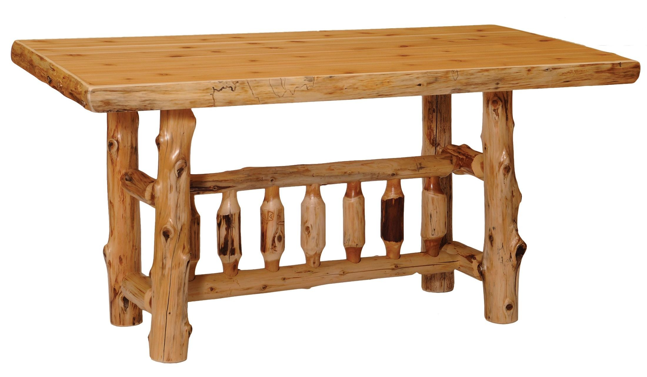 Cedar 72 Rectangular Counter Height Standard Log Dining Table From