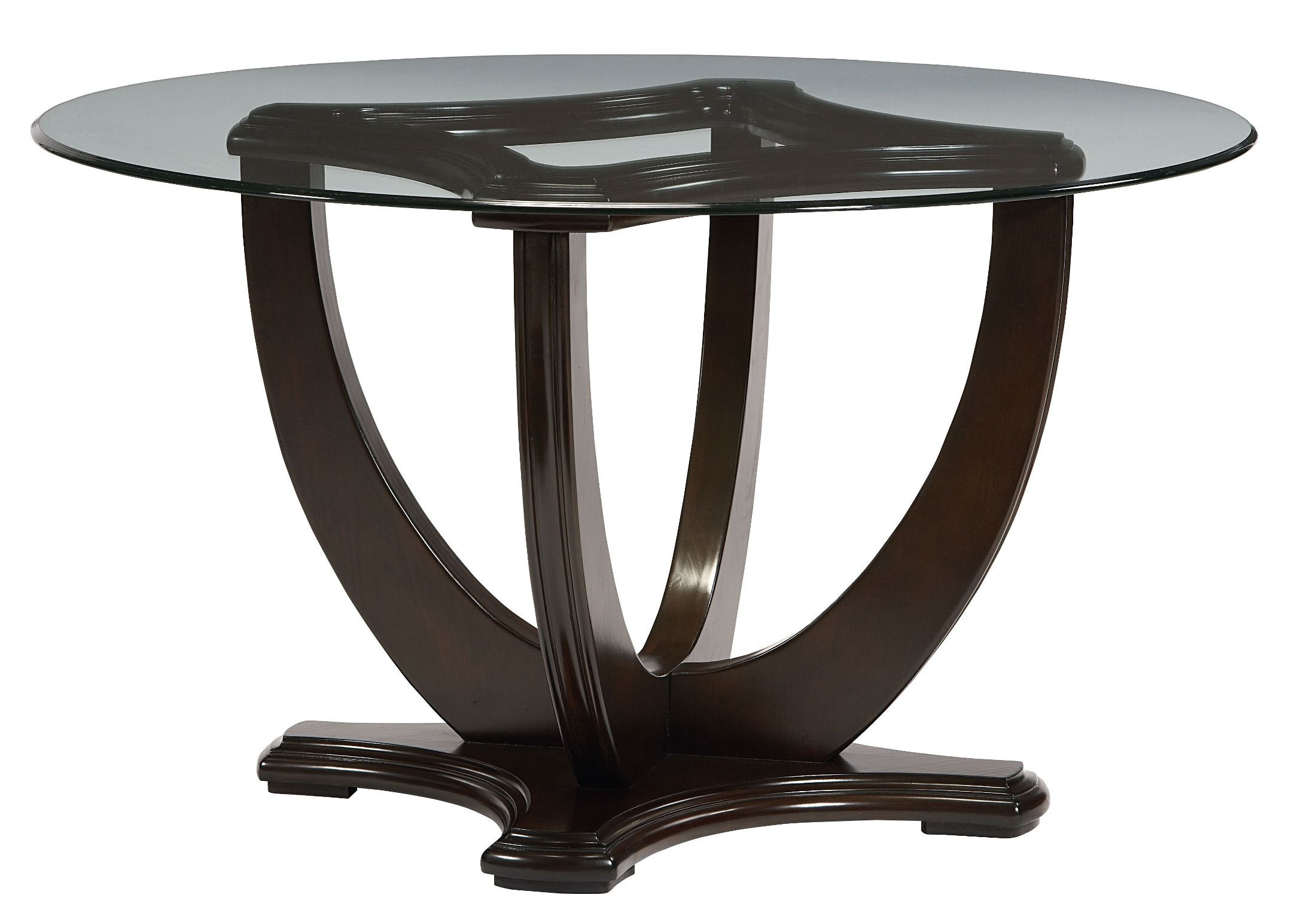 mulholland boulevard dark brown rnd glass top pedestal dining table from standard 10021054. Black Bedroom Furniture Sets. Home Design Ideas