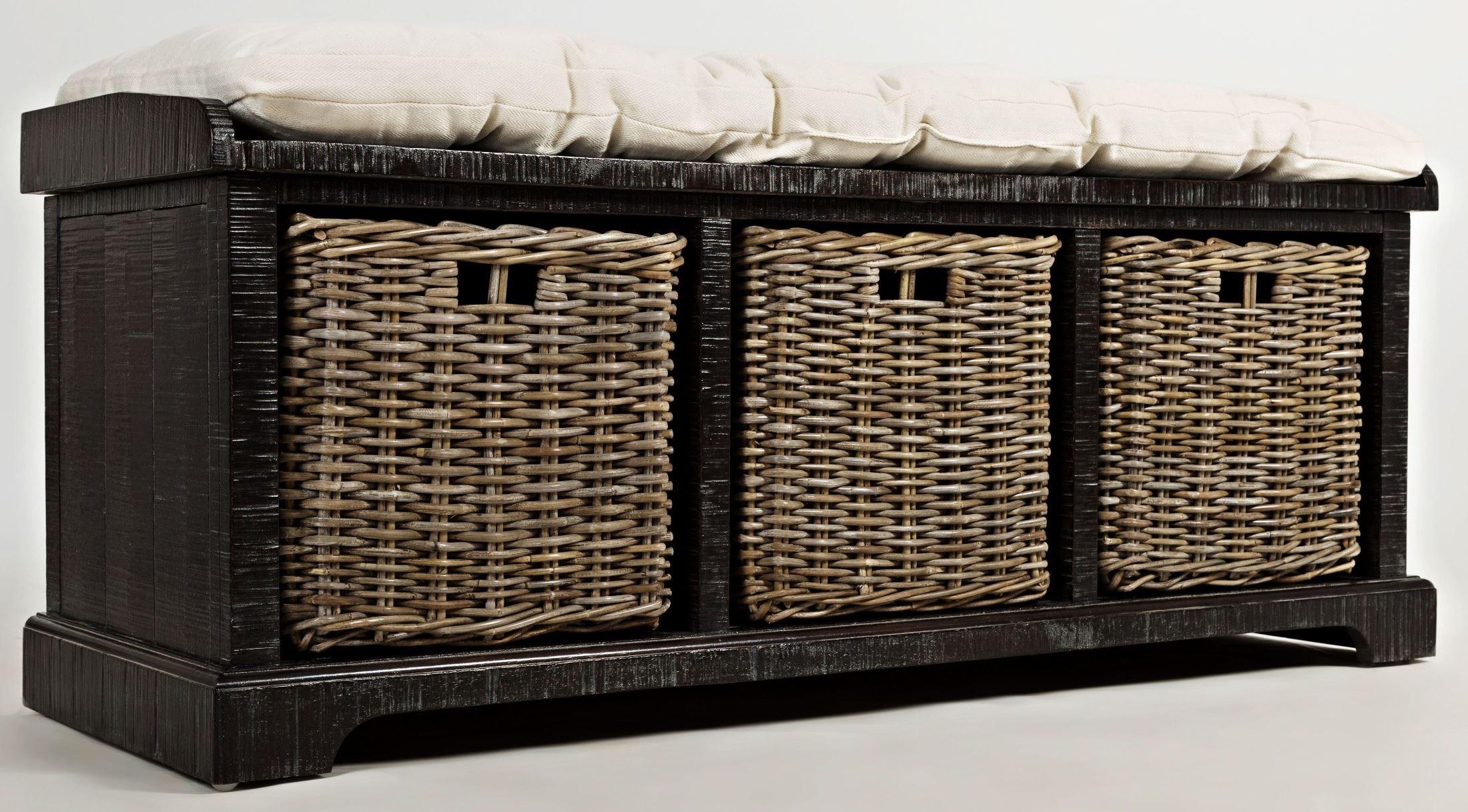 Natural Origins Wellfleet Weathered Grey Storage Bench 1575 14 Jofran