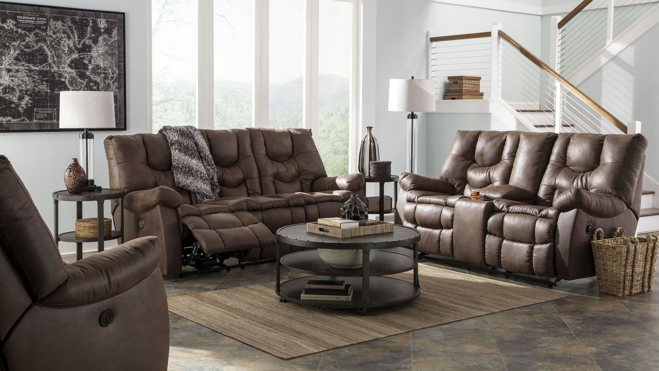 Burgett espresso reclining power reclining living room set for Front room furniture sets