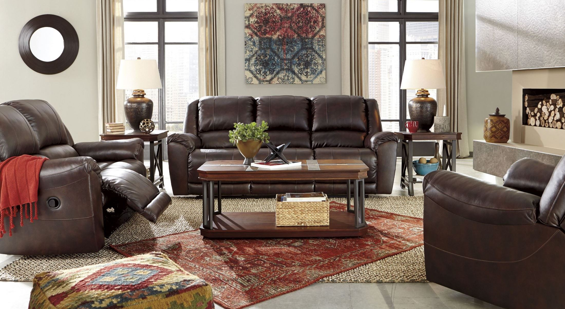 Yancy Walnut Power Reclining Living Room Set 2920087 Ashley