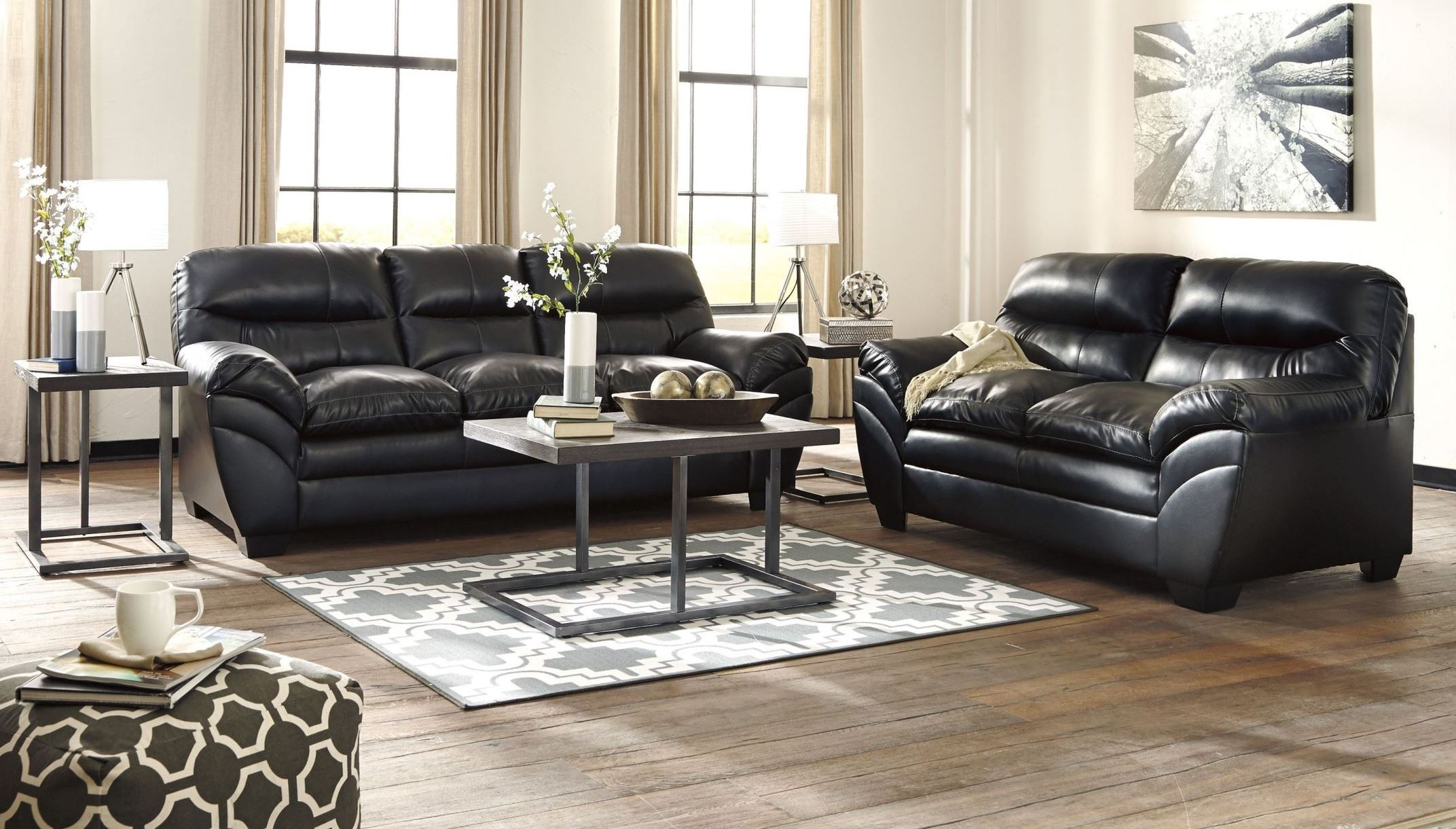 Tassler durablend black living room set from ashley for Black living room furniture sets
