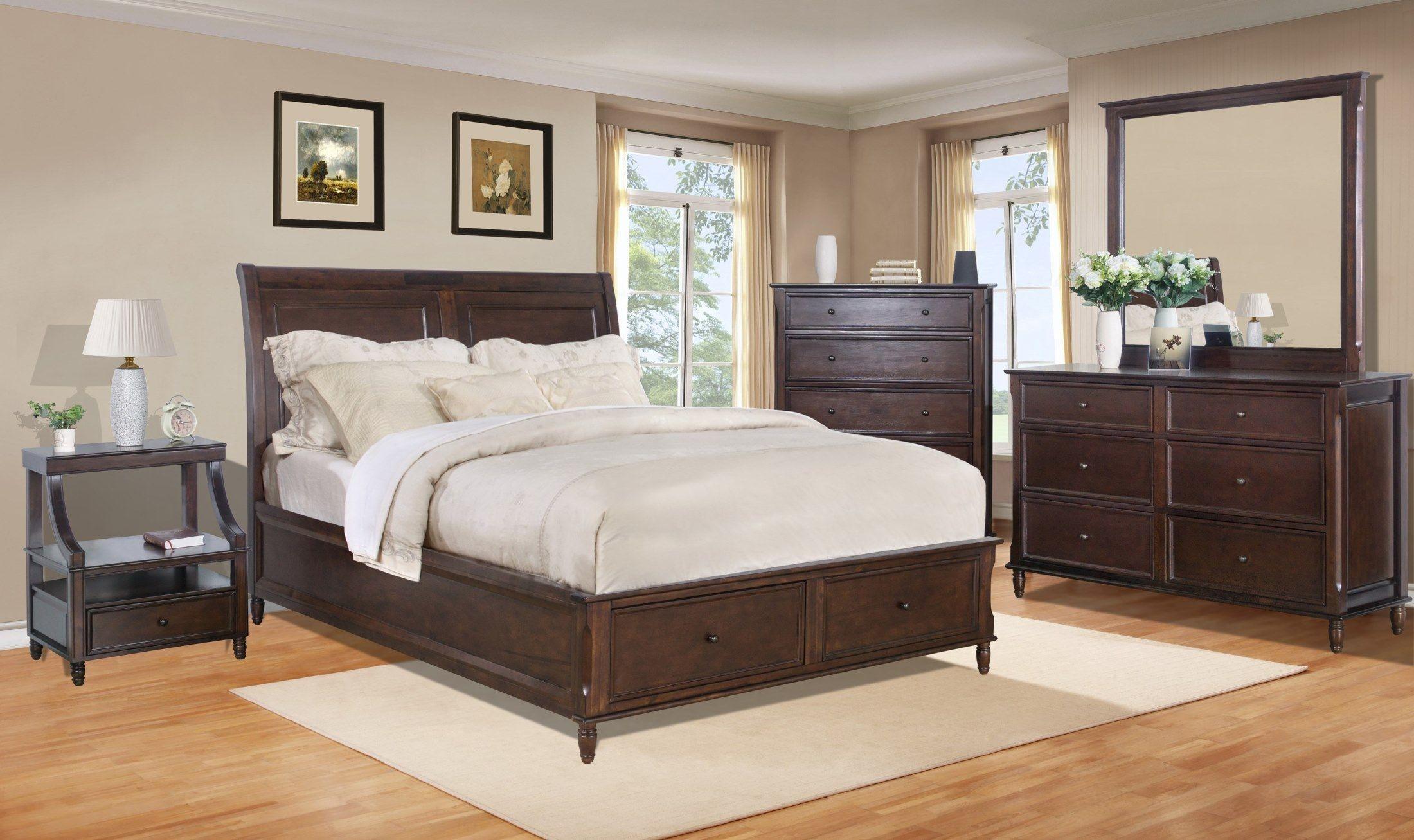 avignon birch cherry storage bedroom set 1619 85868788kt jofran