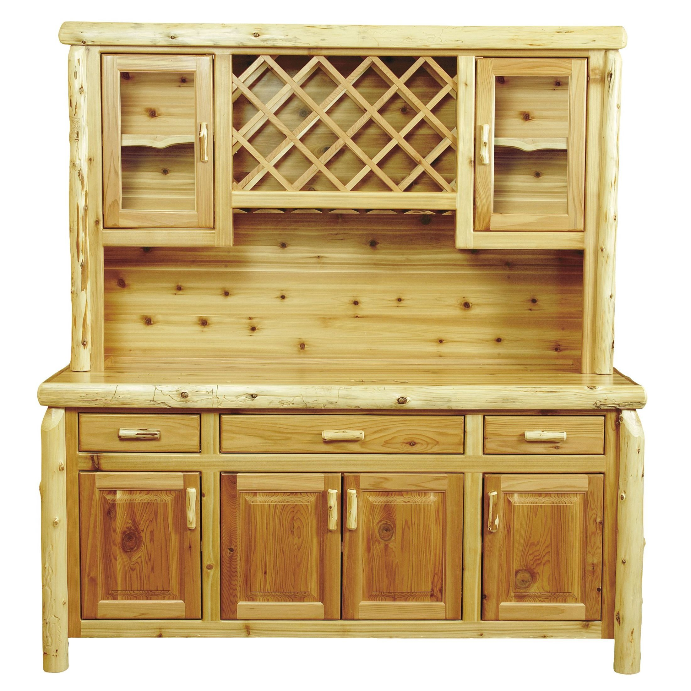 Cedar quot buffet with hutch wine rack from fireside