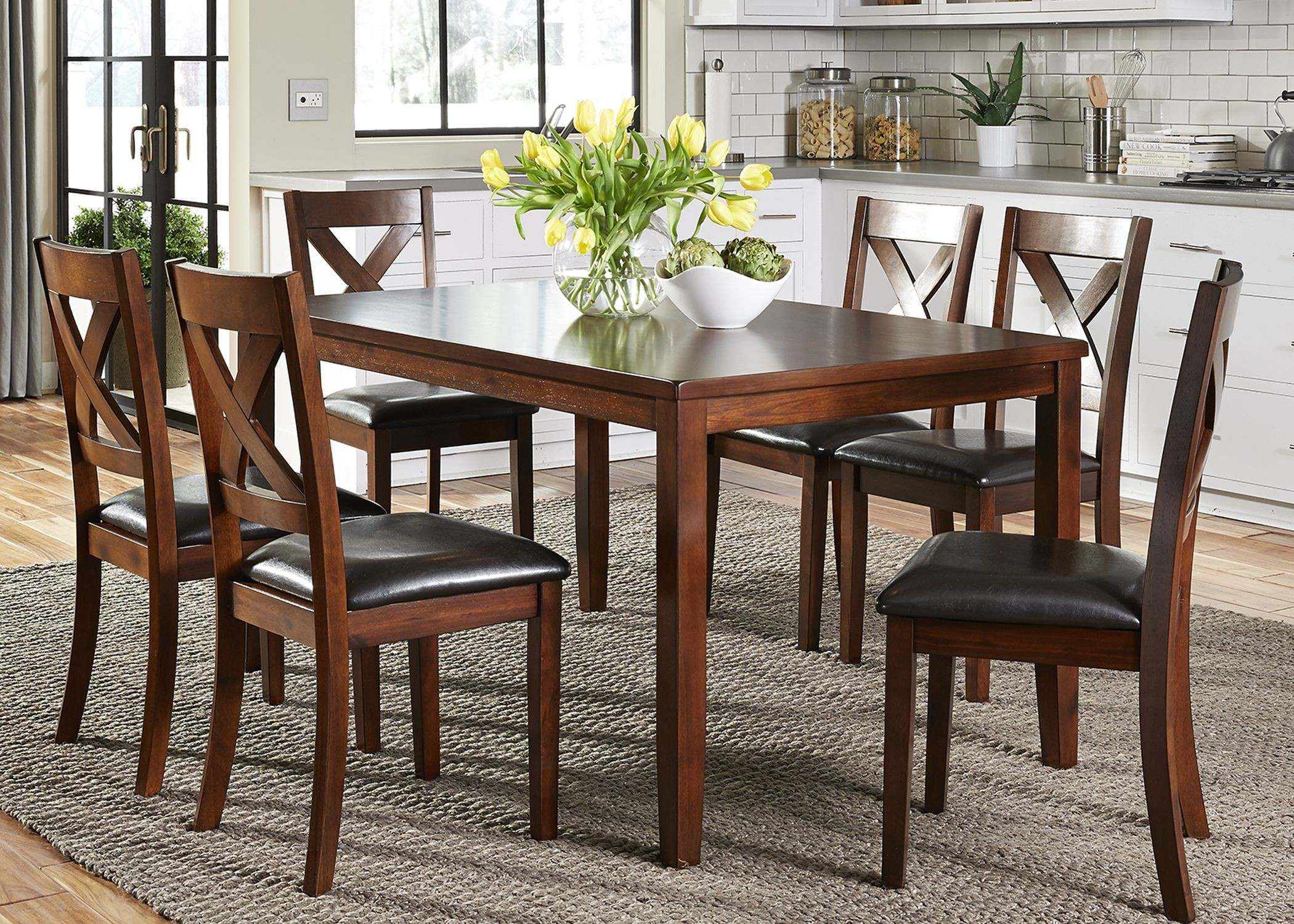 Thornton russet 7 piece rectangular dining room set 164 for 2 piece dining room set