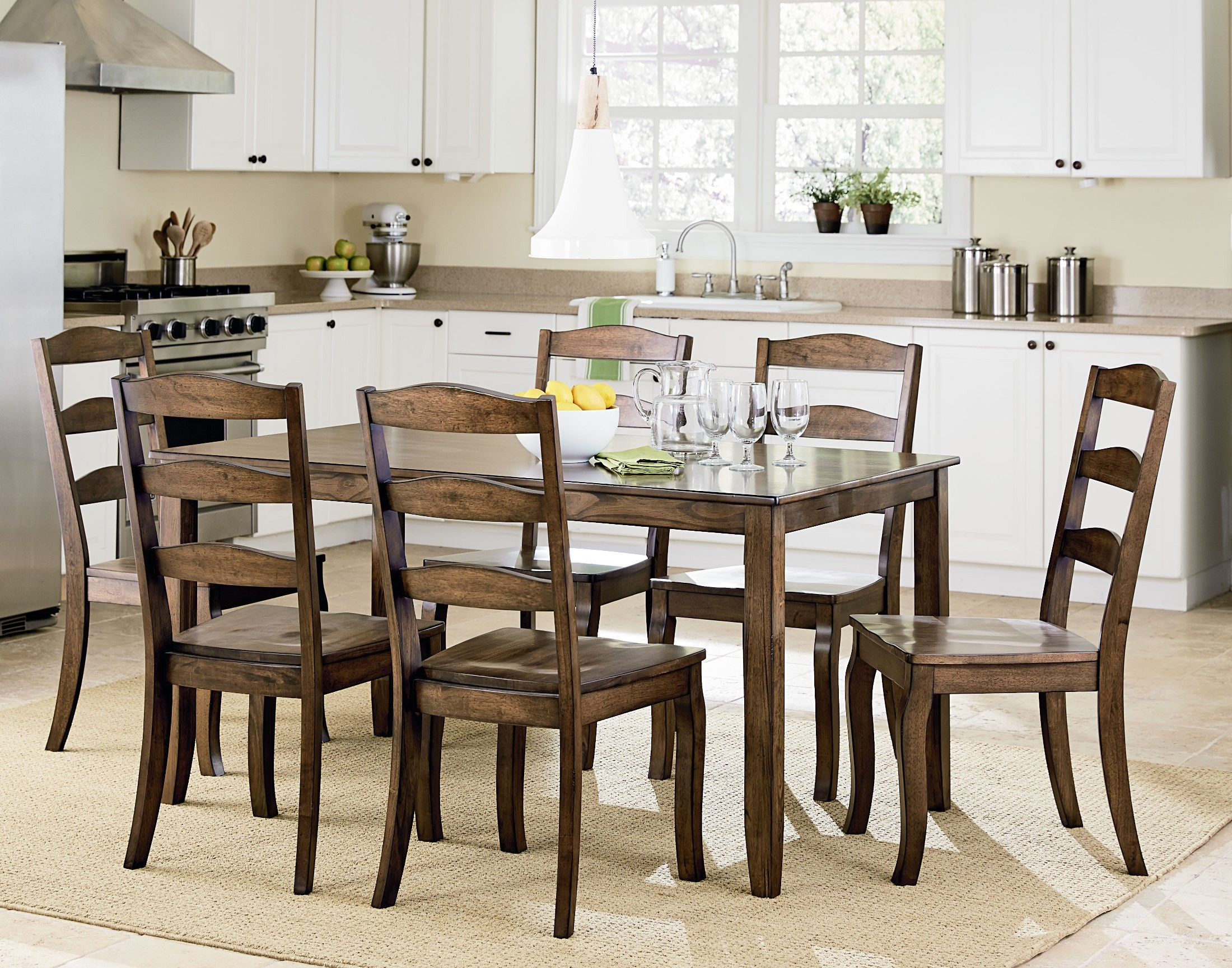 Highland brown 7 piece dining room set 16562 standard for 7 piece dining set