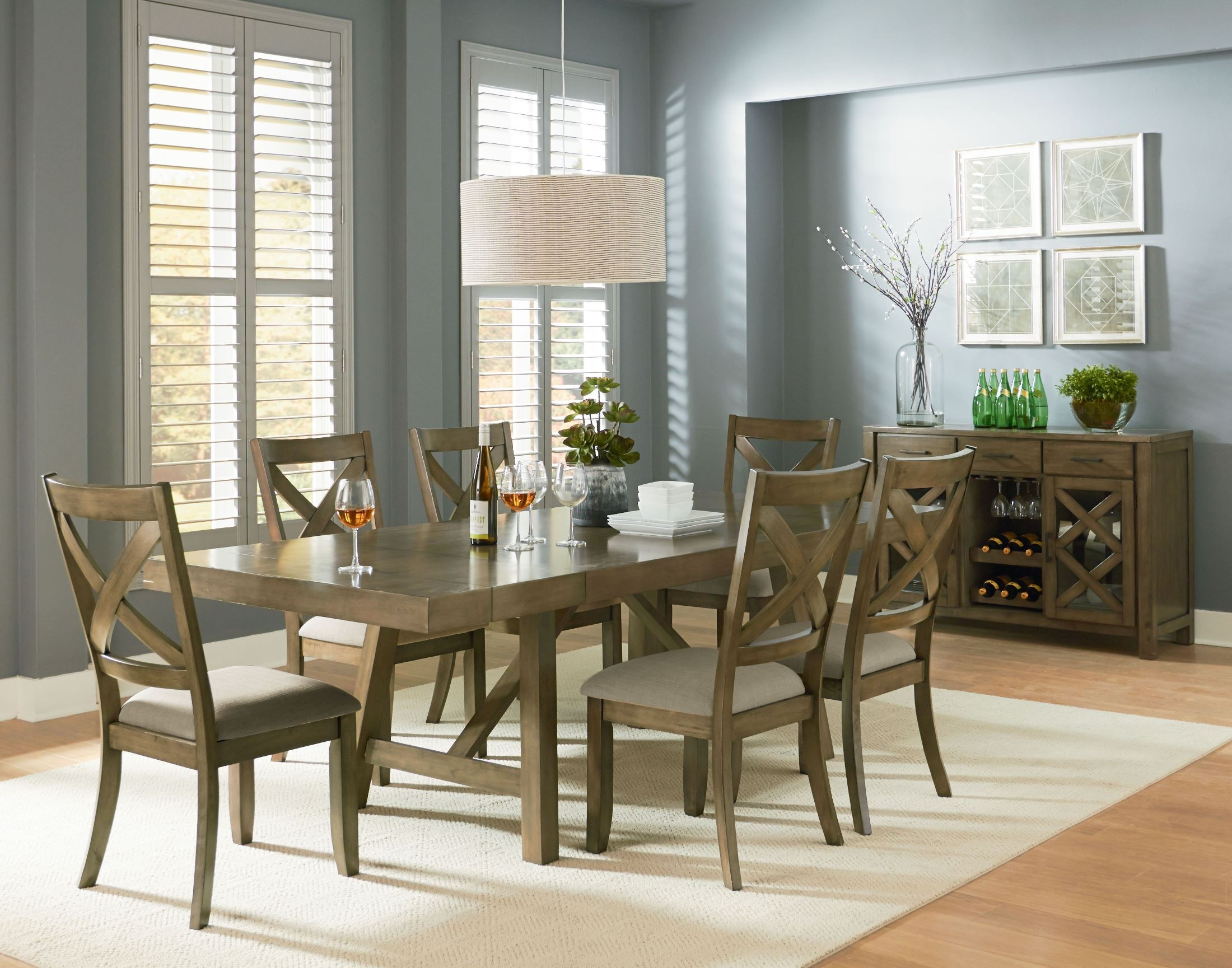 Omaha weathered burnished gray extendable trestle dining for Dining room extendable table