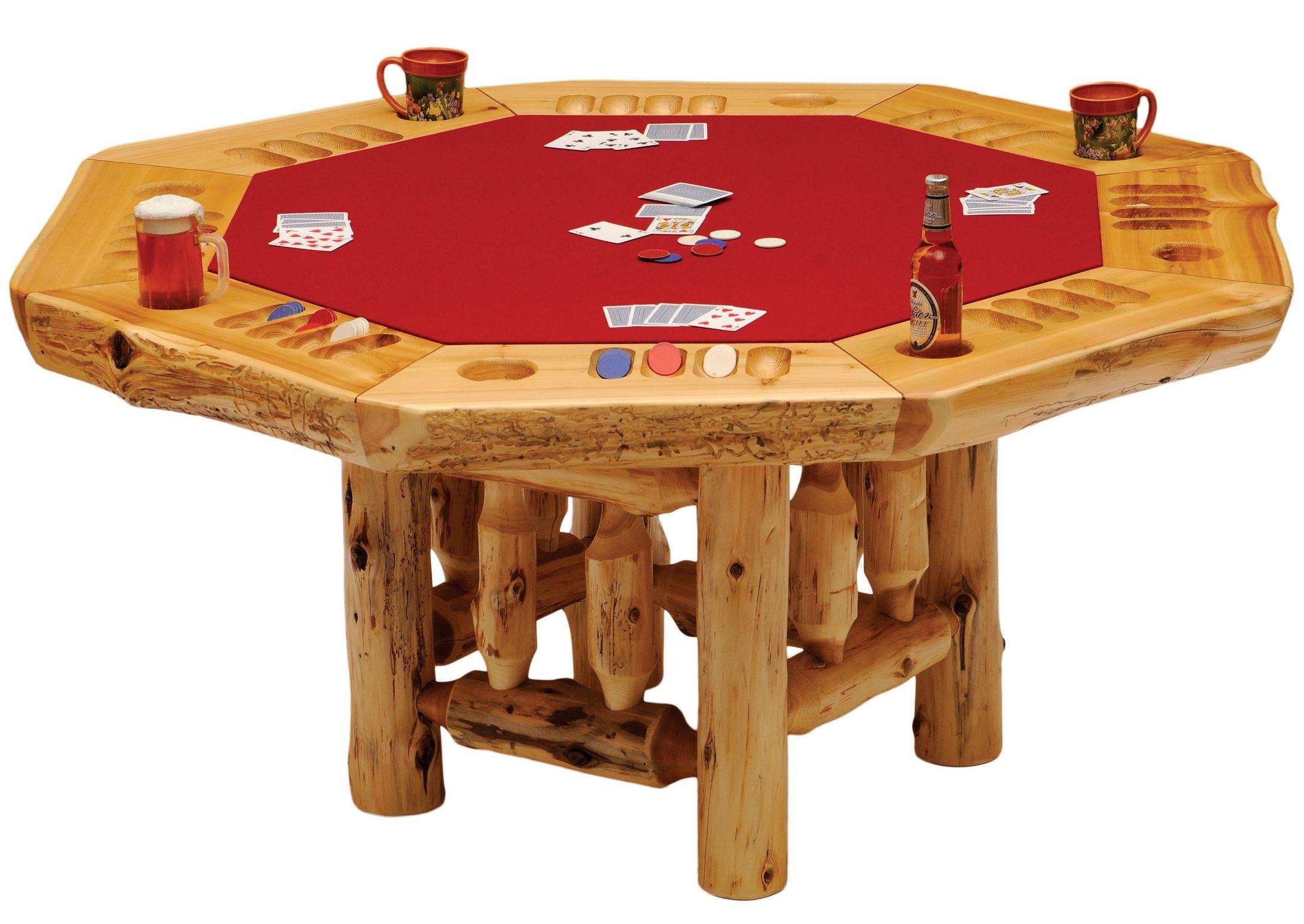 Cedar 8 sided log framework base poker table from fireside for Poker table 6 ou 9