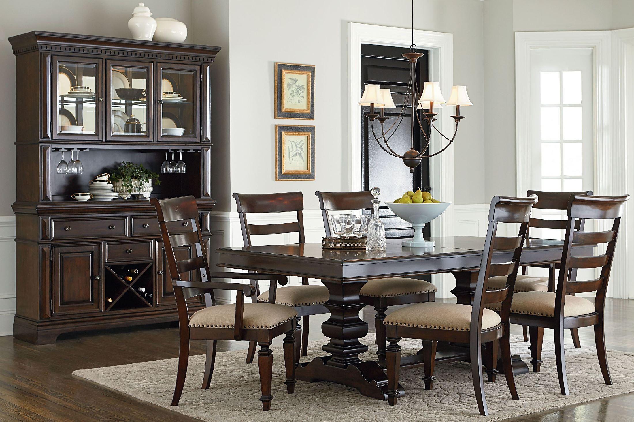 charleston tobacco brown extendable trestle dining table 16721 2016721 standard furniture. Black Bedroom Furniture Sets. Home Design Ideas