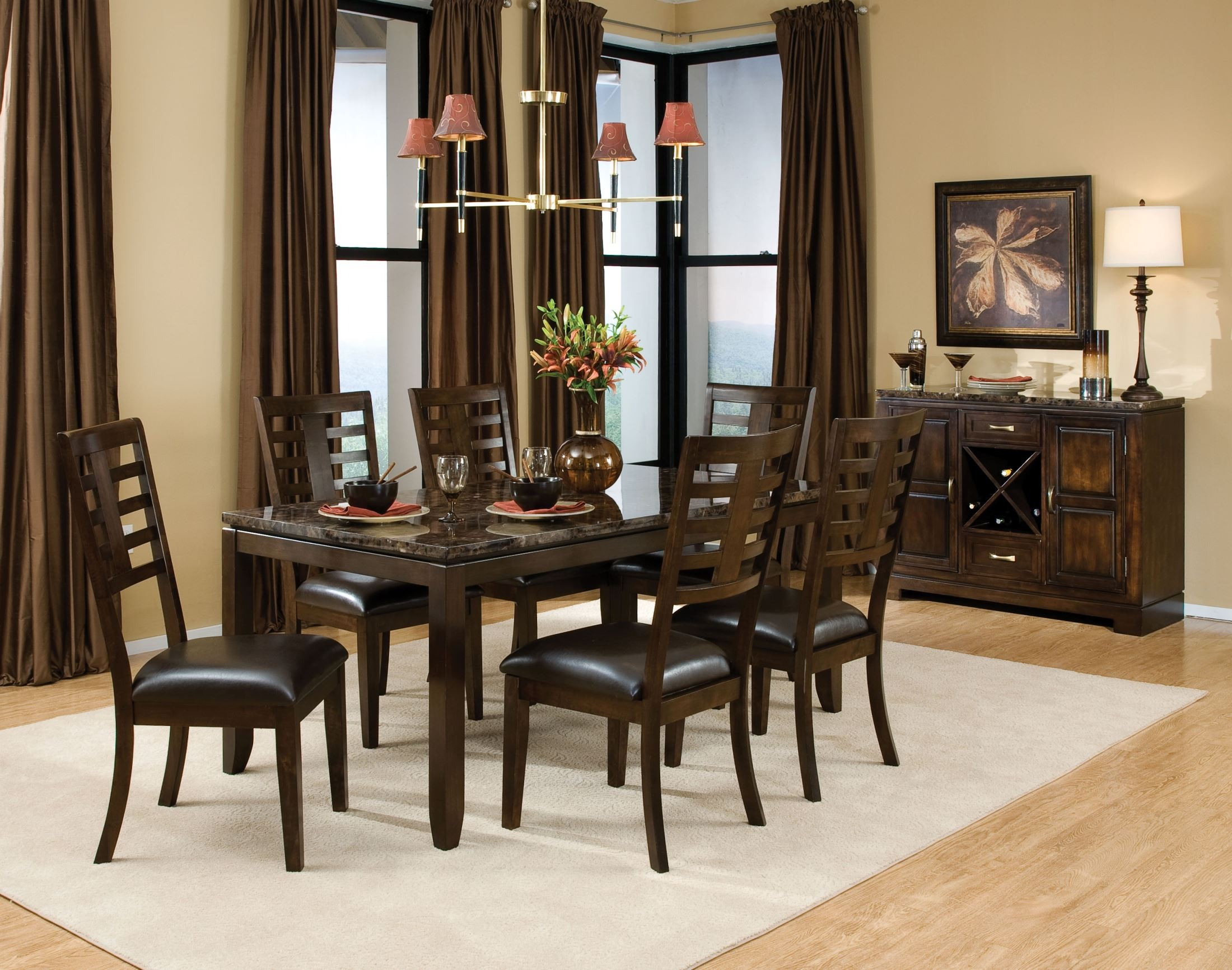 Bella warm chocolate cherry marbella topped rectangular for Cherry dining room set