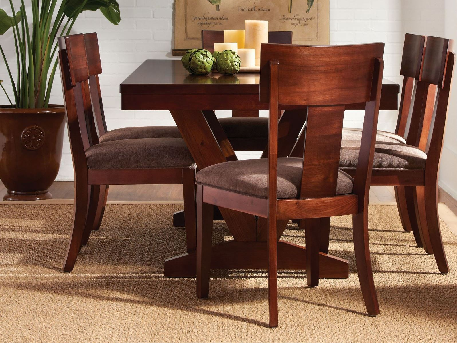Studio brown mahogany trestle dining room set from for Brown dining room set