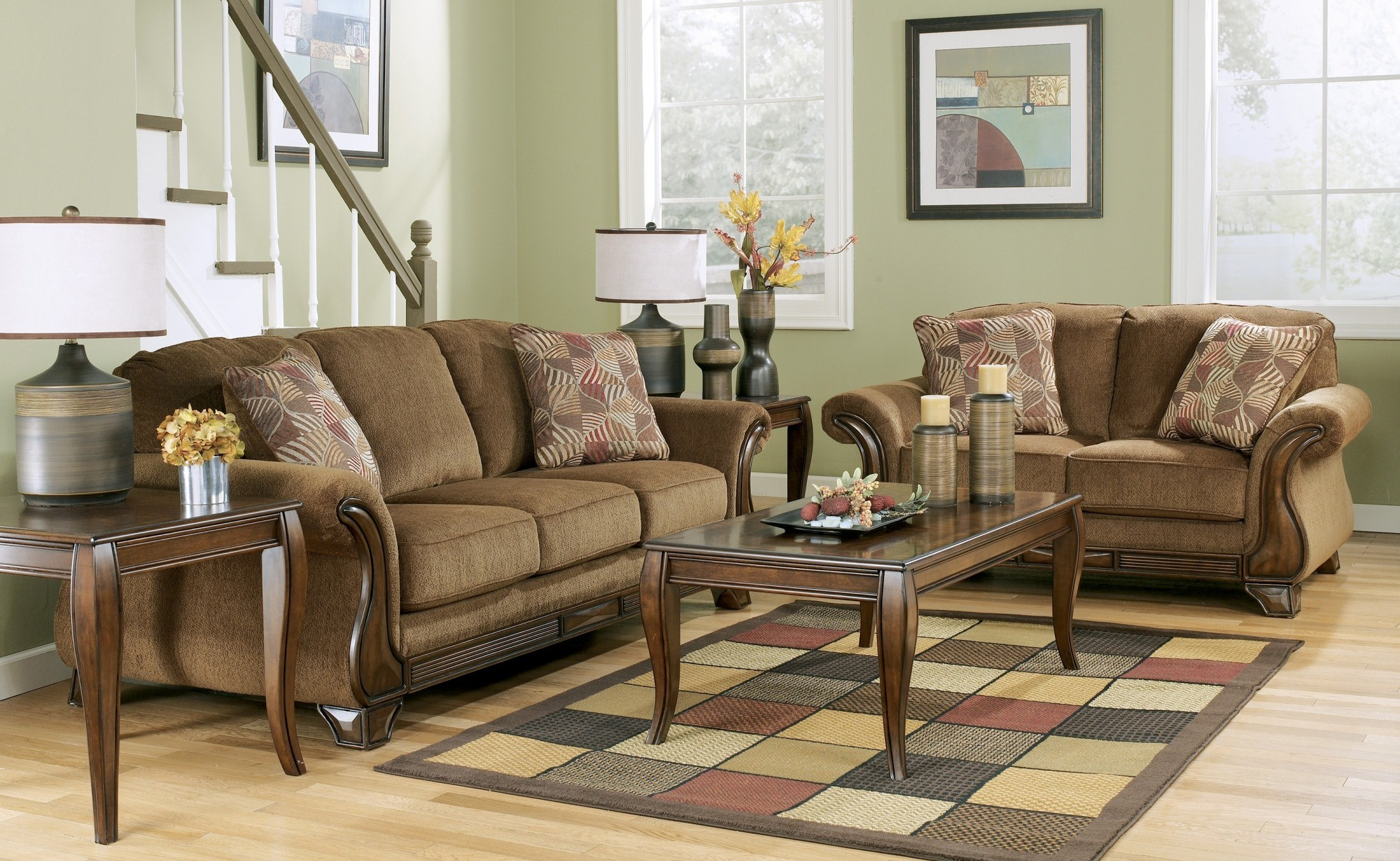 montgomery mocha living room set from ashley 3830038 coleman furniture