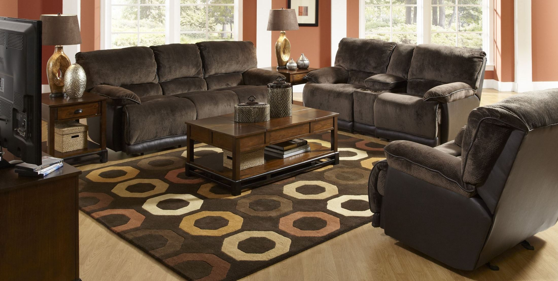 escalade chocolate reclining living room set from catnapper
