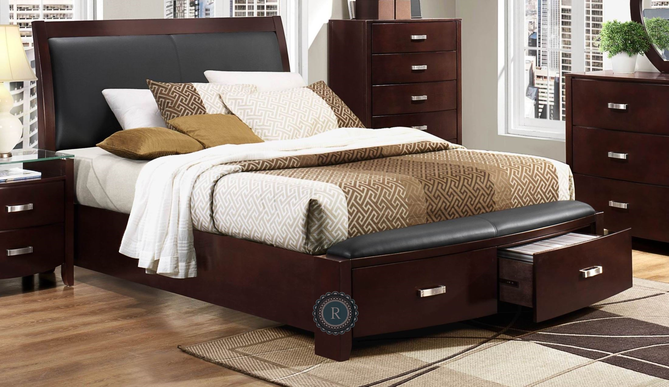 Lyric espresso cal king sleigh storage bed from - California king storage bedroom sets ...