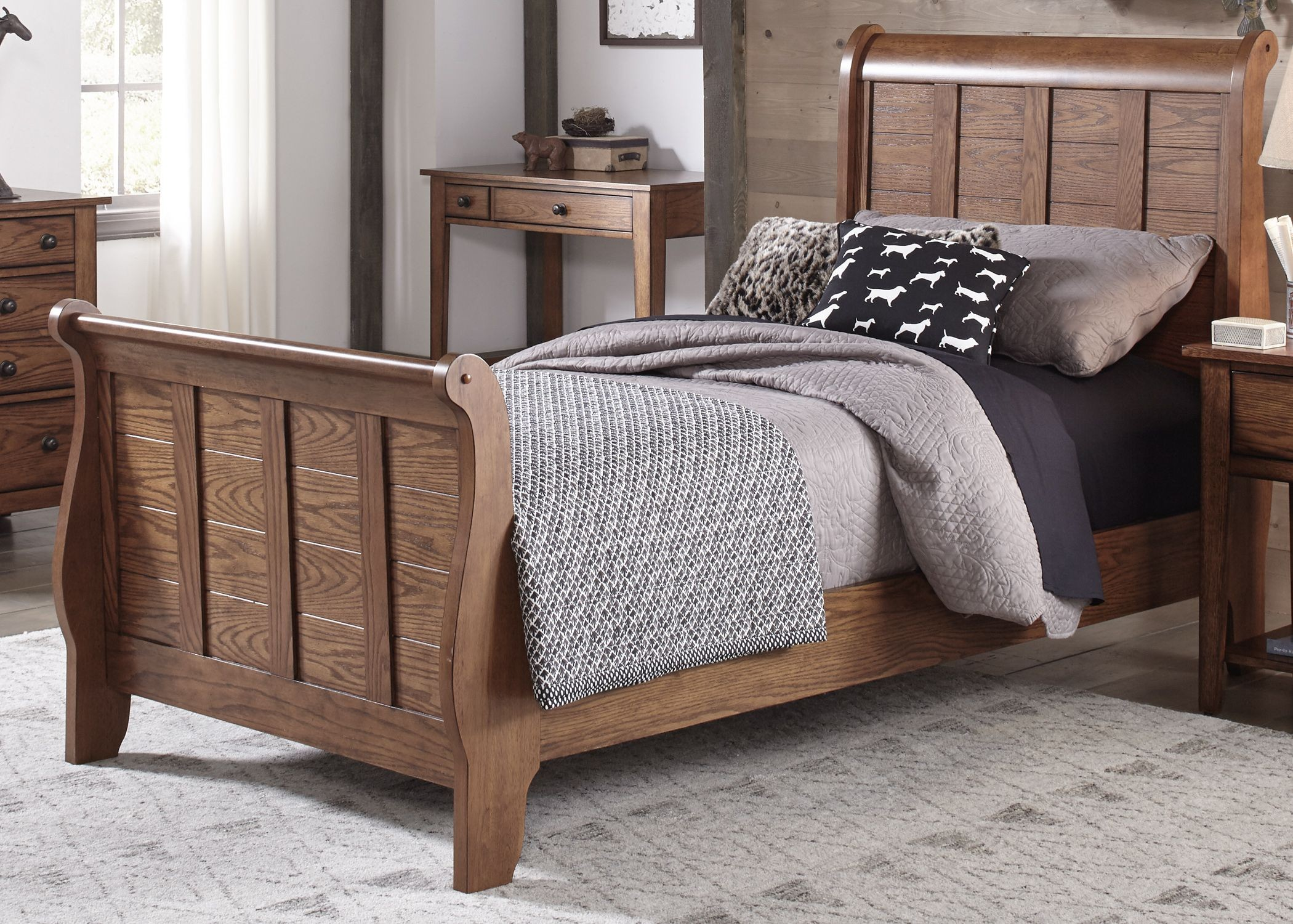 queen size wood bed frames home office computer chair unfinished 2100x1500 grandpas cabin aged oak full sleigh bed 175 ybr fsl liberty photo 7f5e4c most